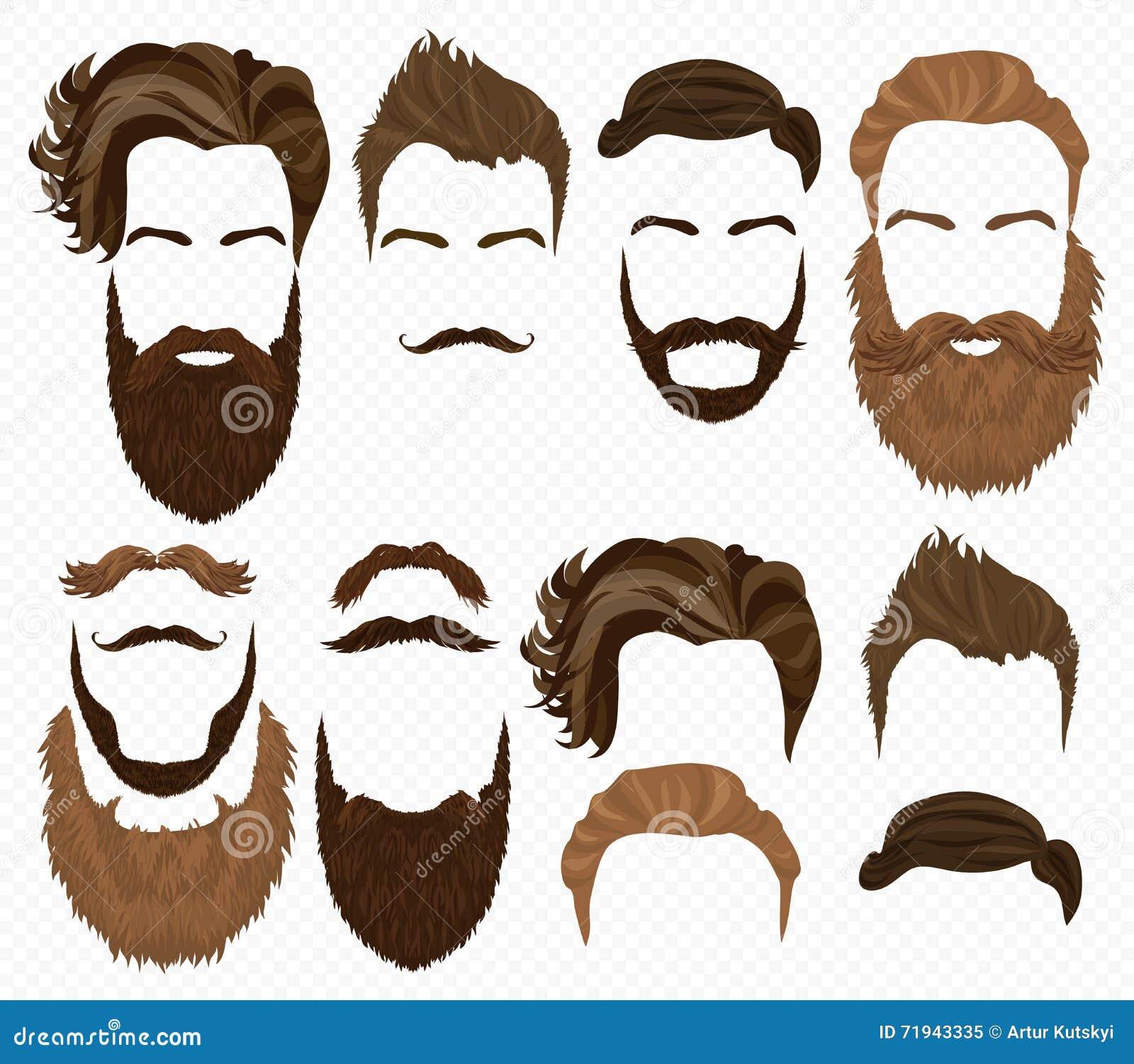 Волосы человека, усик и собрание бород Элементы моды битника высокие детальные на предпосылке альфы