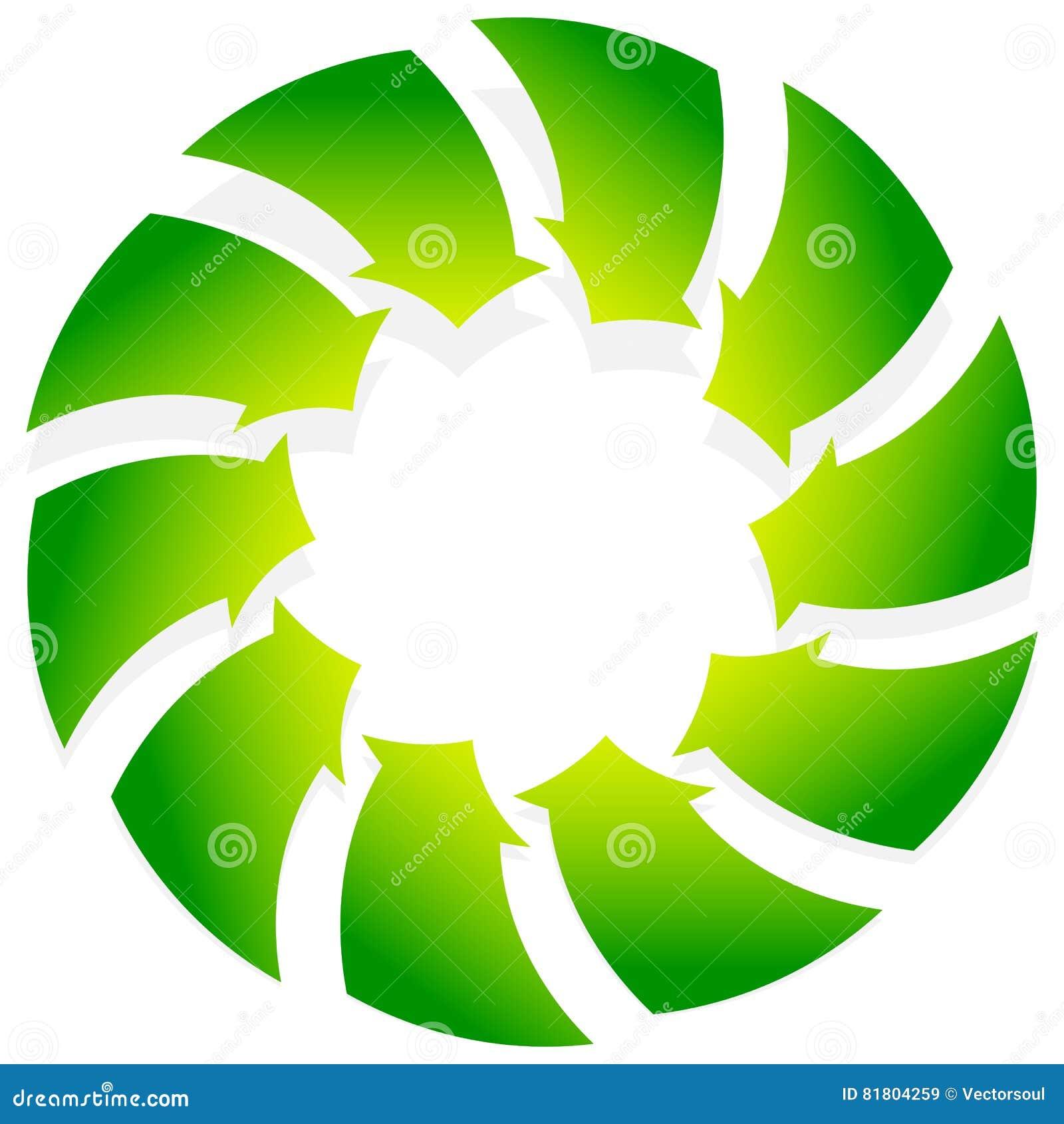 Вращая зеленое внутрь пункта стрелок/внутрь Абстрактное острословие формы