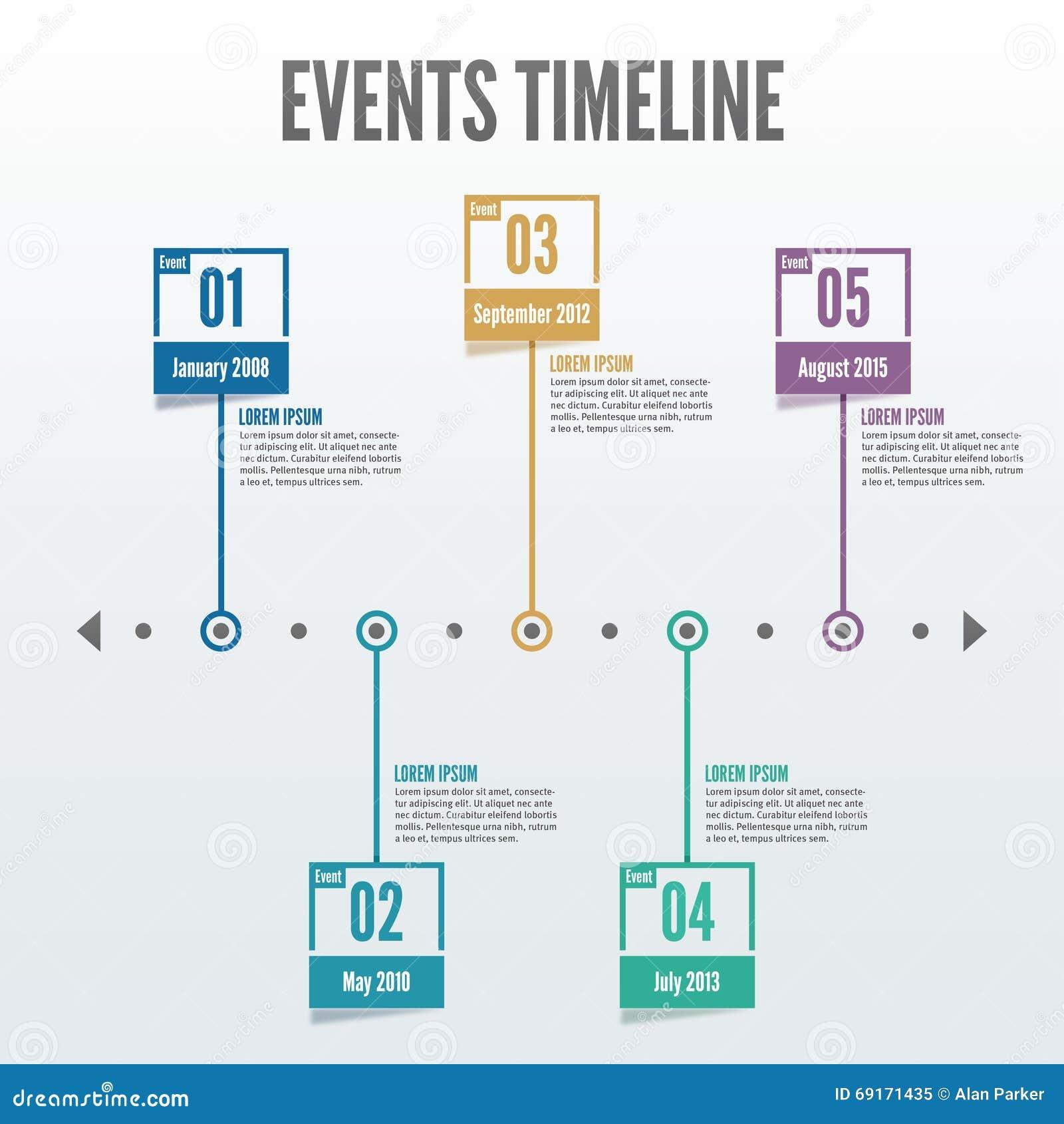 Временная последовательность по Infographic 5 событий пункта - вектор