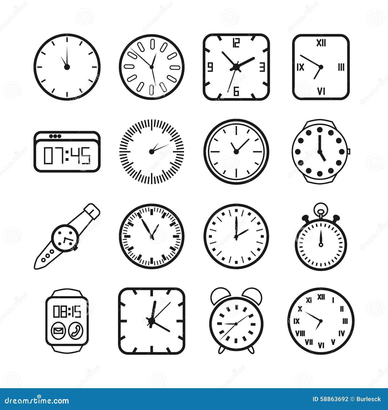 Время и значки часов