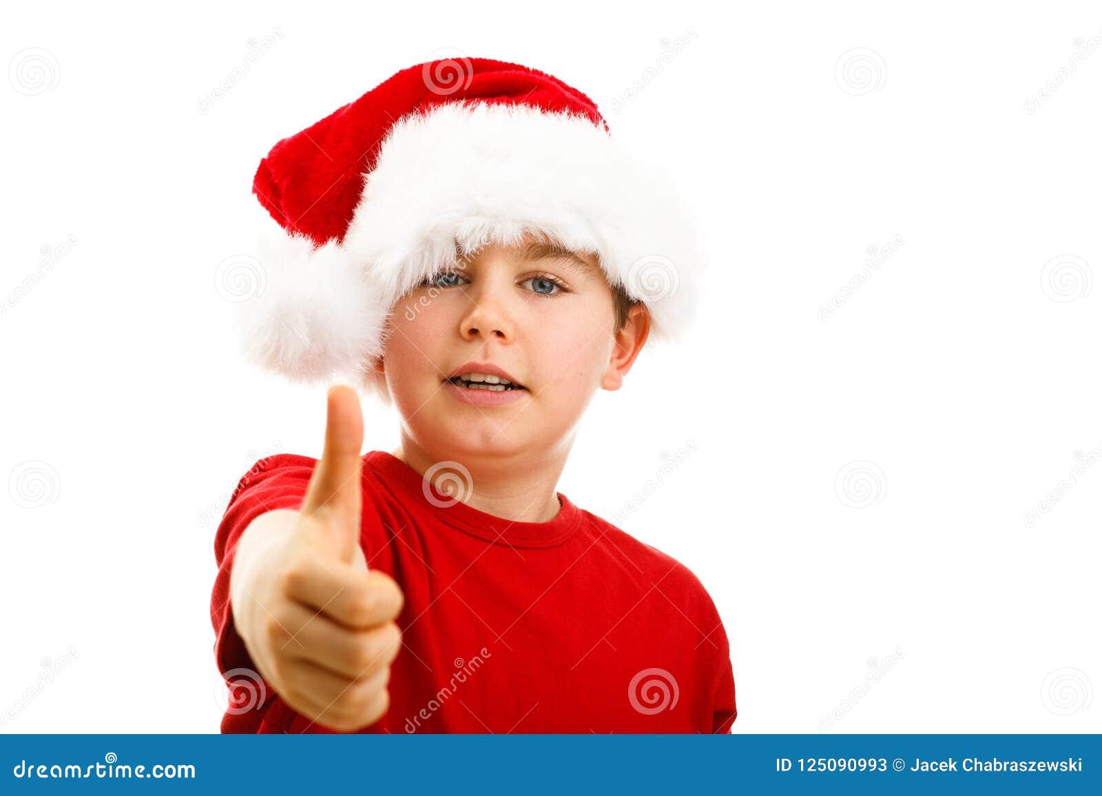 Время рождества - мальчик с шляпой Санта Клауса