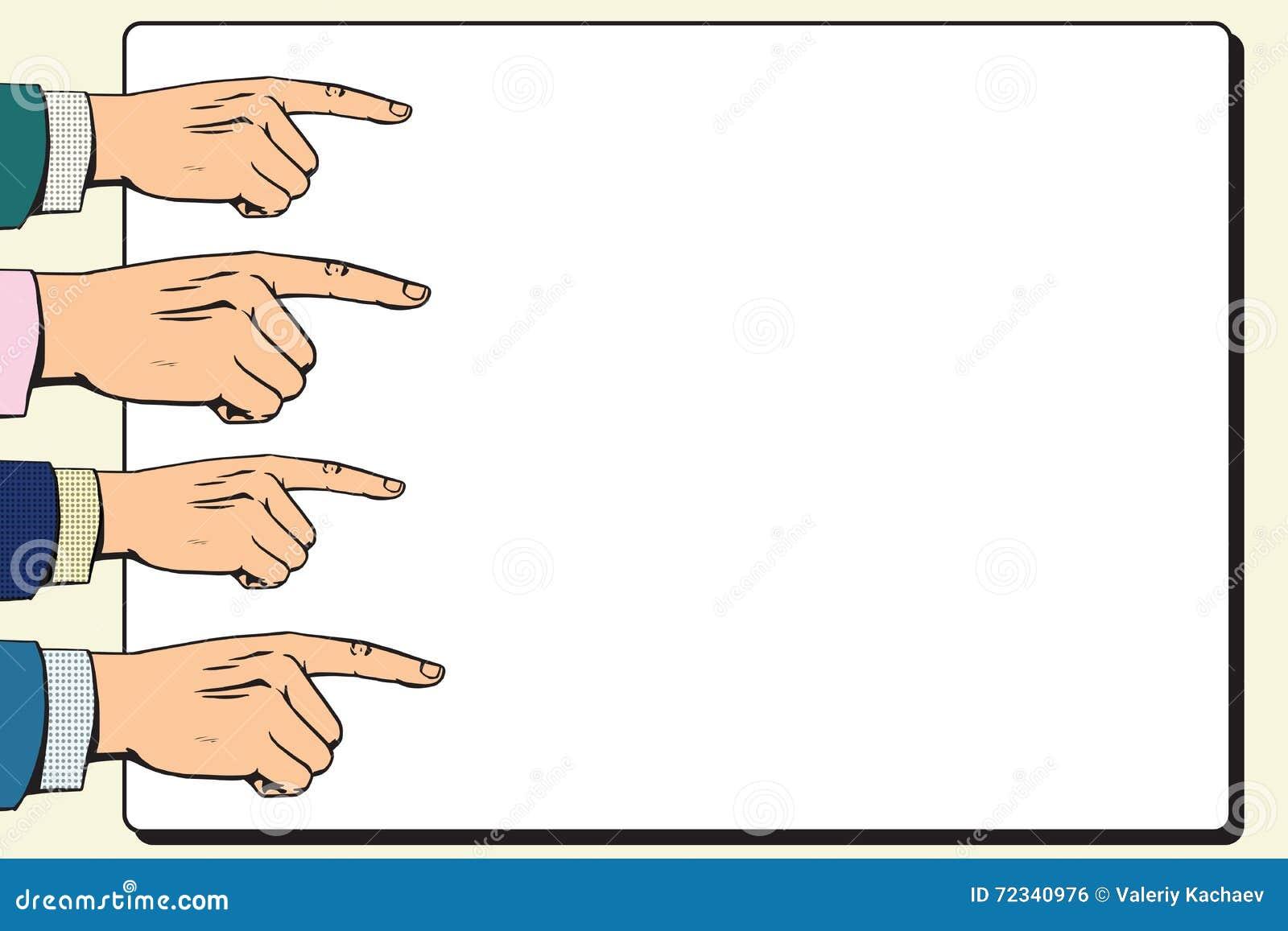 Вручает плакат указателя указательного пальца