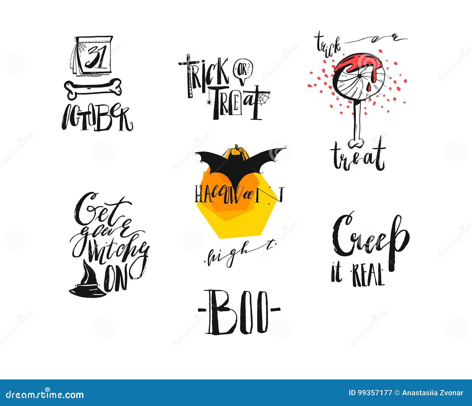 Вручите вычерченному конспекту вектора рукописные современные цитаты хеллоуина каллиграфии, знаки, логотип, значки, иллюстрации,