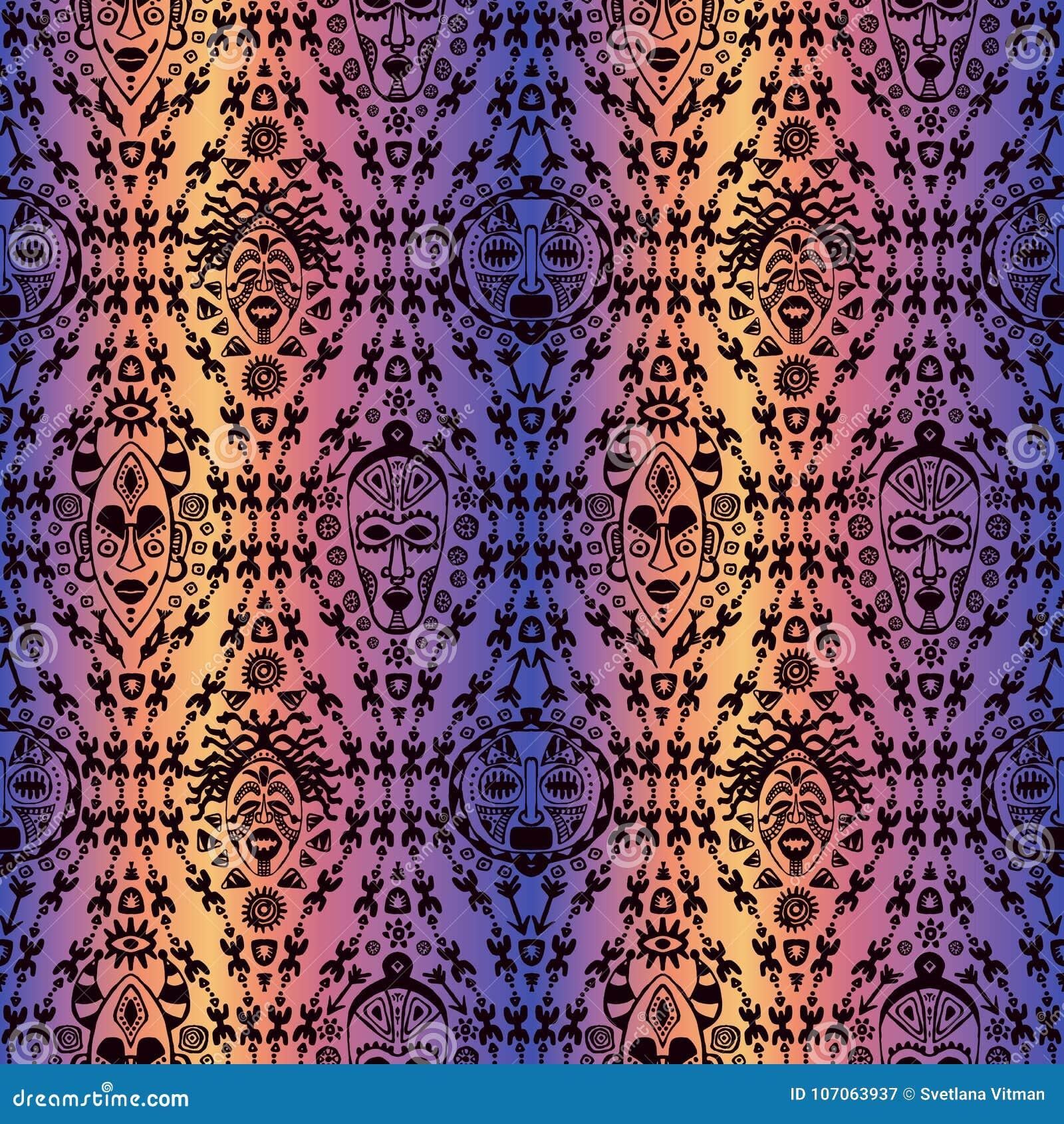 Вручите вычерченную безшовную картину с племенной маской этнической Эскиз для вашего дизайна, wallaper, ткань, печать вектор изоб