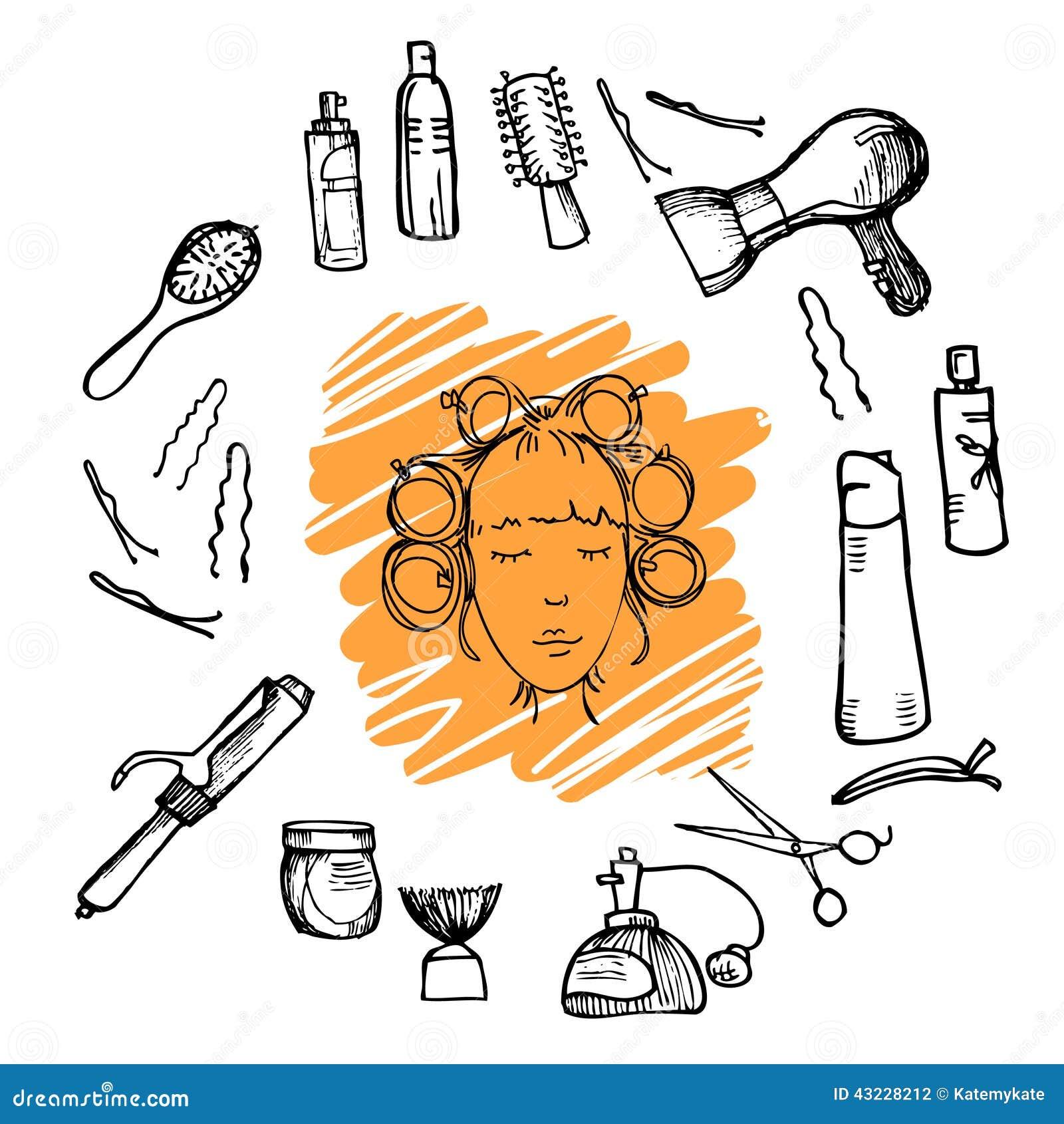Вручите вычерченную иллюстрацию - инструменты парикмахерских услуг (ножницы, гребни, вводя в моду) и женщину с роликами волос