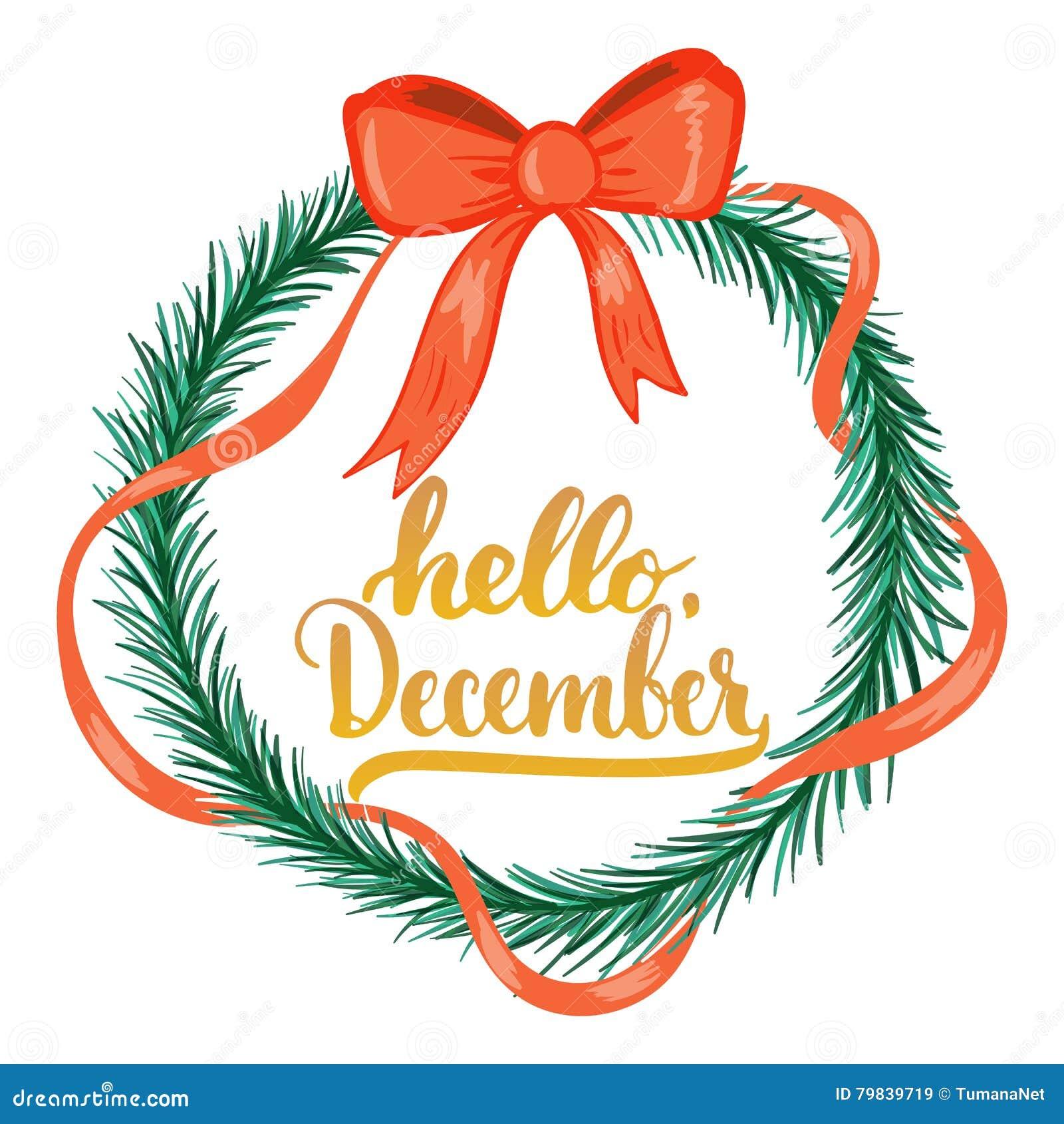 Вручите вычерченную фразу литерности оформления здравствуйте!, декабрь изолировал на белой предпосылке с венком рождества Щетка п