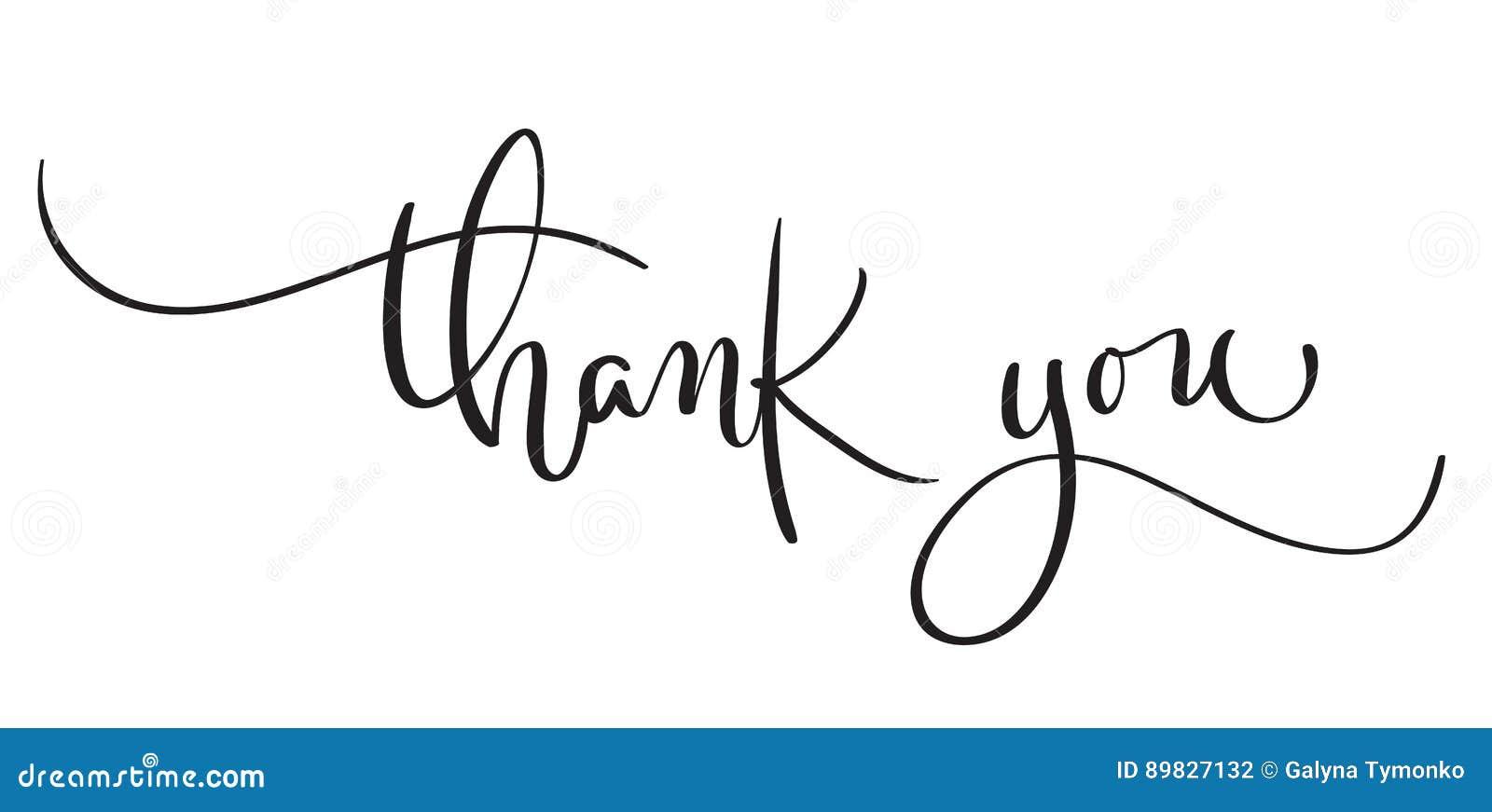 Вручите вычерченный винтажный текст вектора спасибо на белой предпосылке Иллюстрация EPS10 литерности каллиграфии