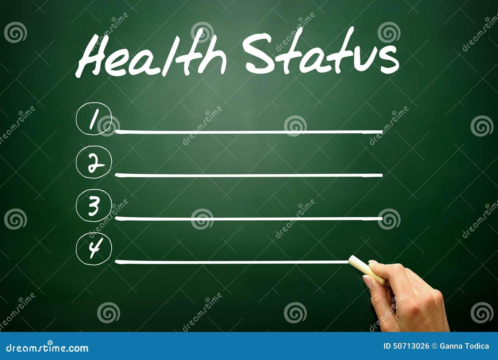 Вручите вычерченный список пробела состояния здоровья, концепцию дела на blackbo