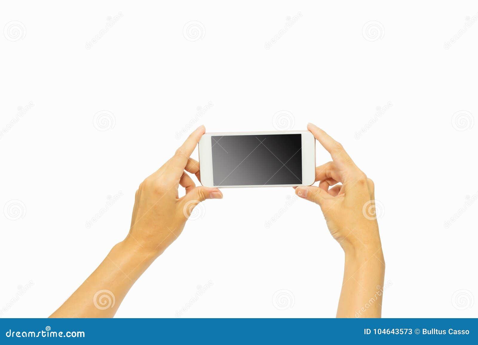 Вручите держать умный телефон изолированный на белой предпосылке