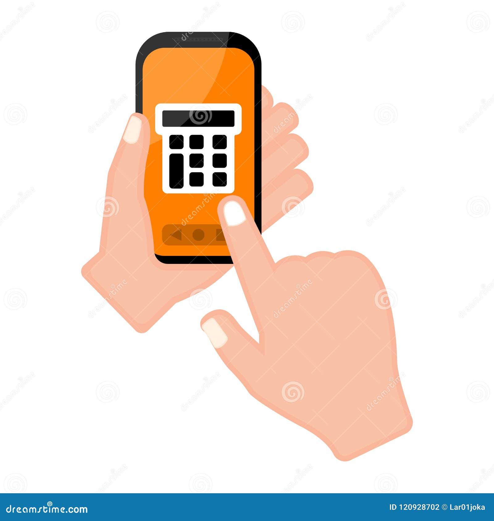 Вручите держать smartphone с калькулятором app