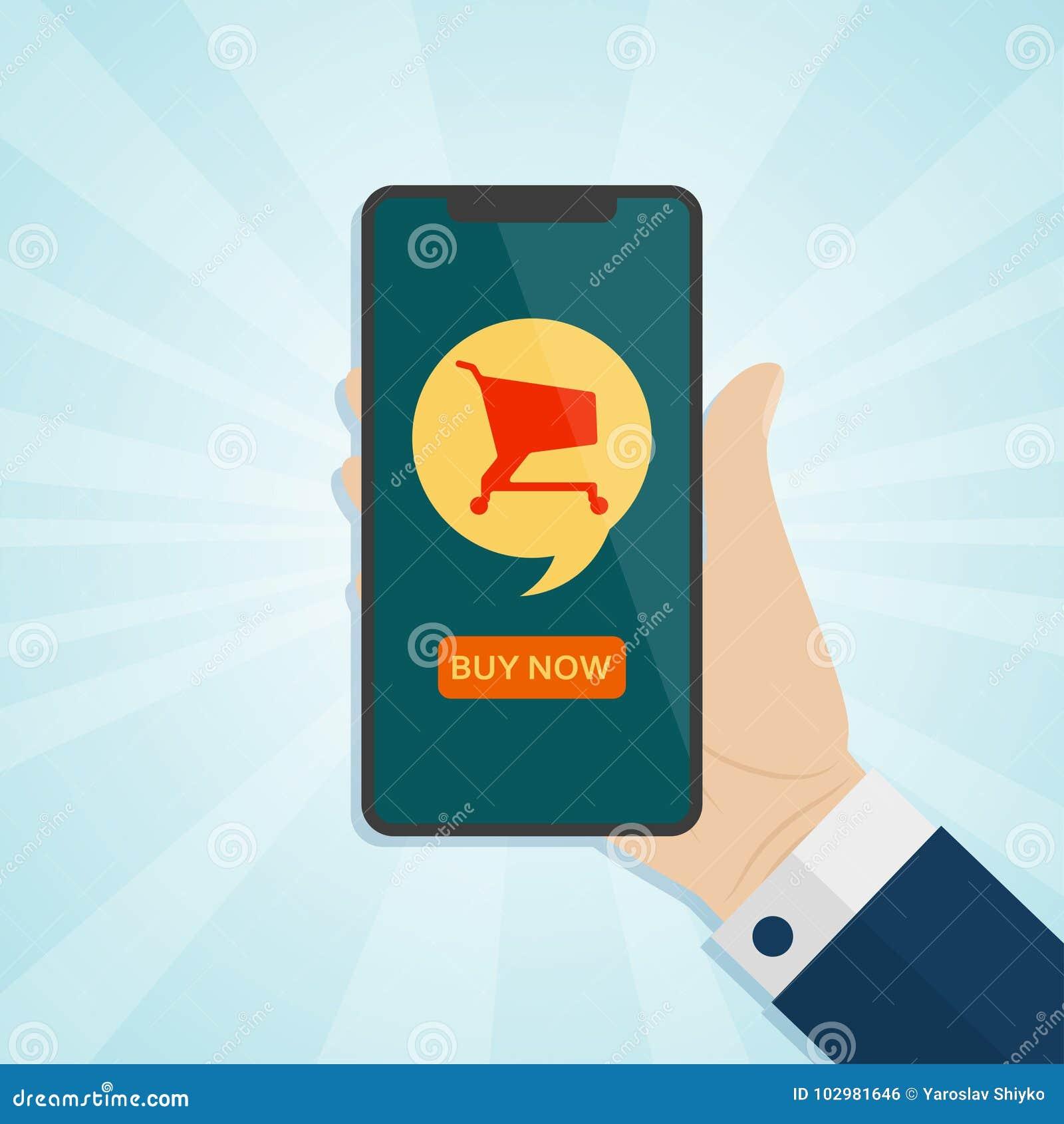 Вручите держать smartphone с магазинной тележкаой на экране