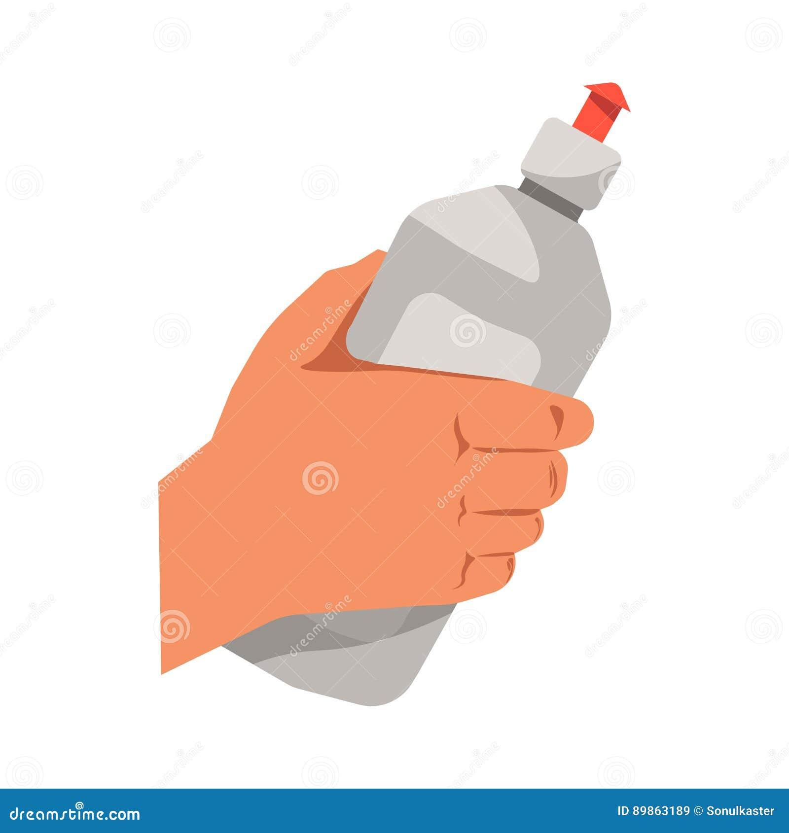 Вручите держать значок вектора жидкости стирки блюда изолированный квартирой