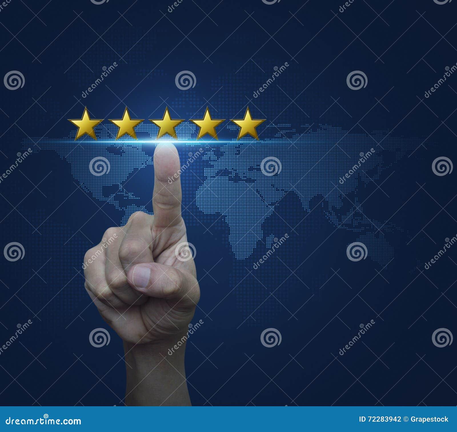 Download Вручите щелкните дальше 5 желтые звезды для того чтобы увеличить классифицировать над цифровым Стоковое Фото - изображение насчитывающей номинальность, дело: 72283942