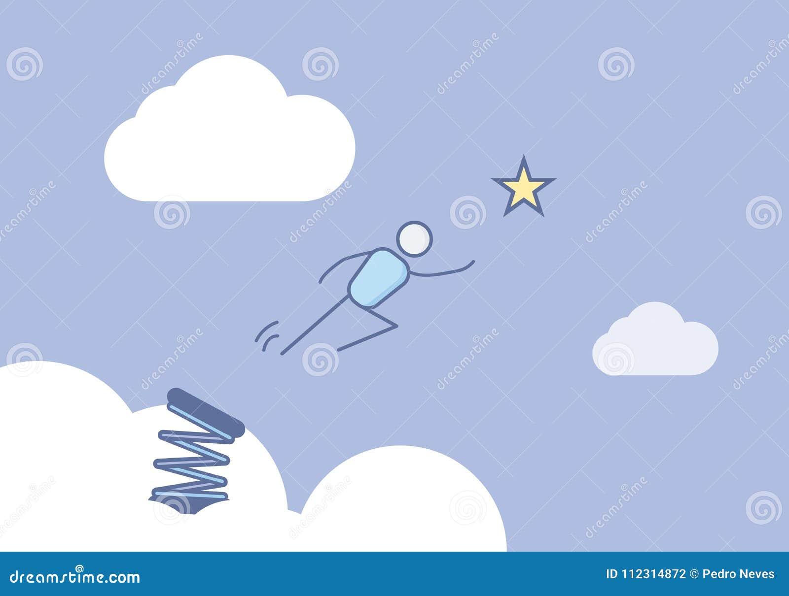 Вставьте диаграмму скача в небо готовое для достижения звезды Иллюстрация вектора для различных концепций