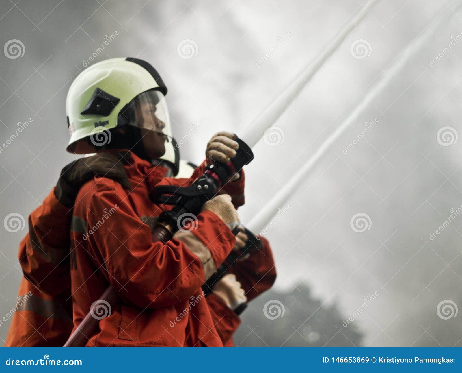 Всход водяного пистолета от пожарного