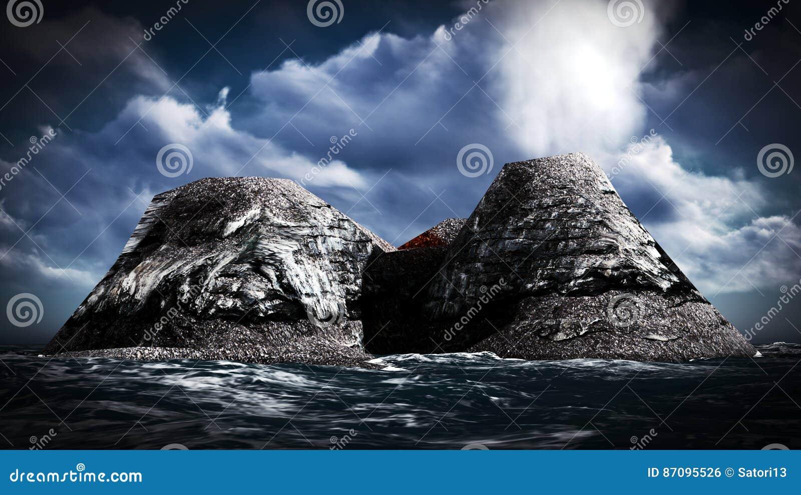 Вулканическое извержение на переводе острова 3d