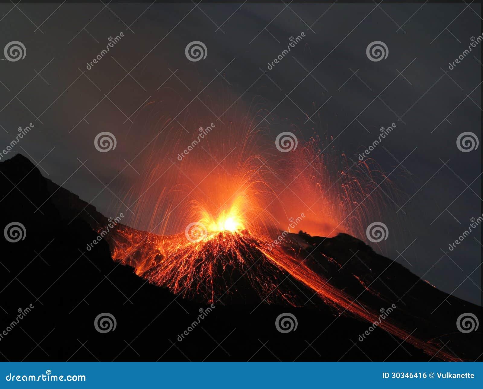 Вулкан извержения Strombolian