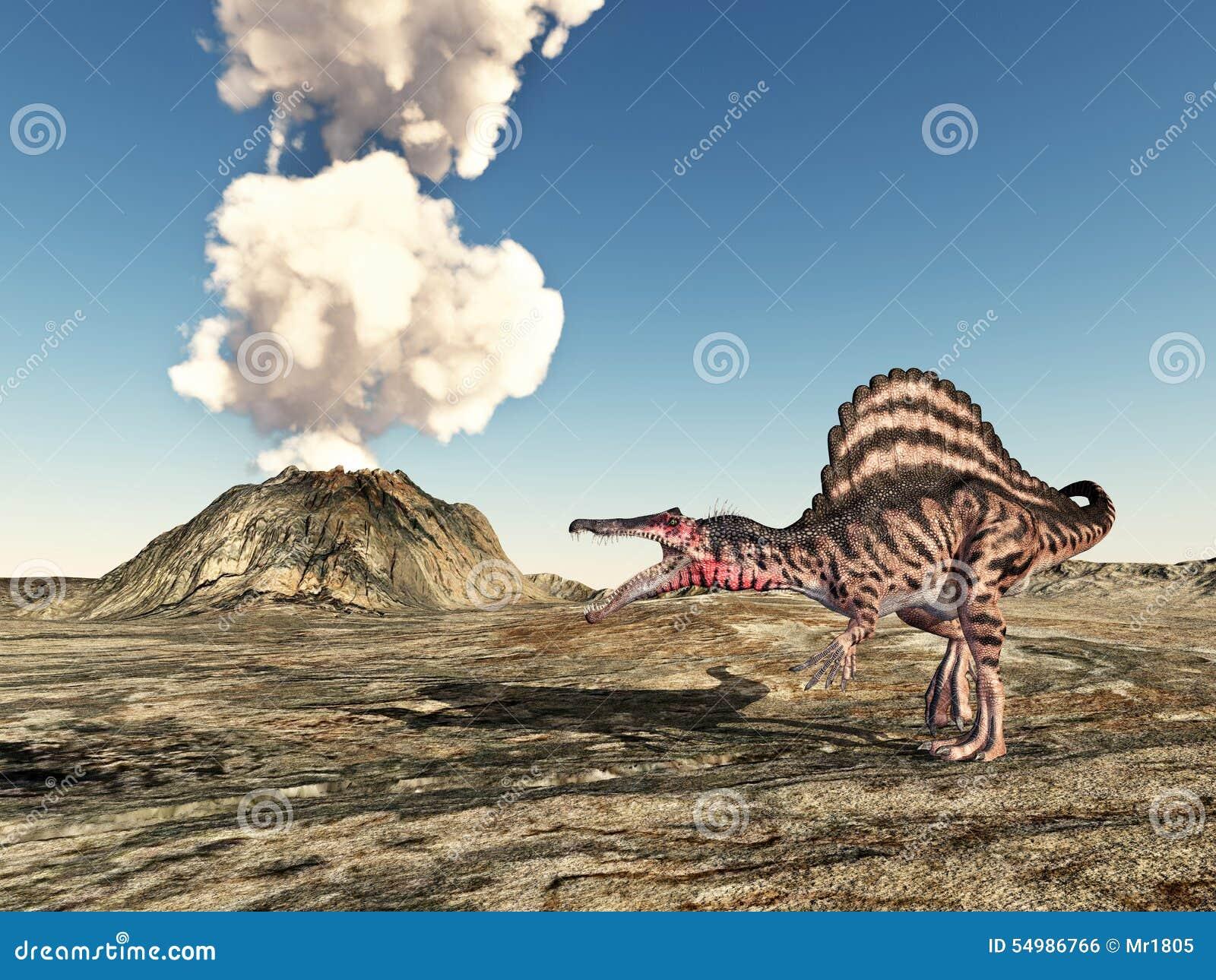 Вулкан и динозавр Spinosaurus