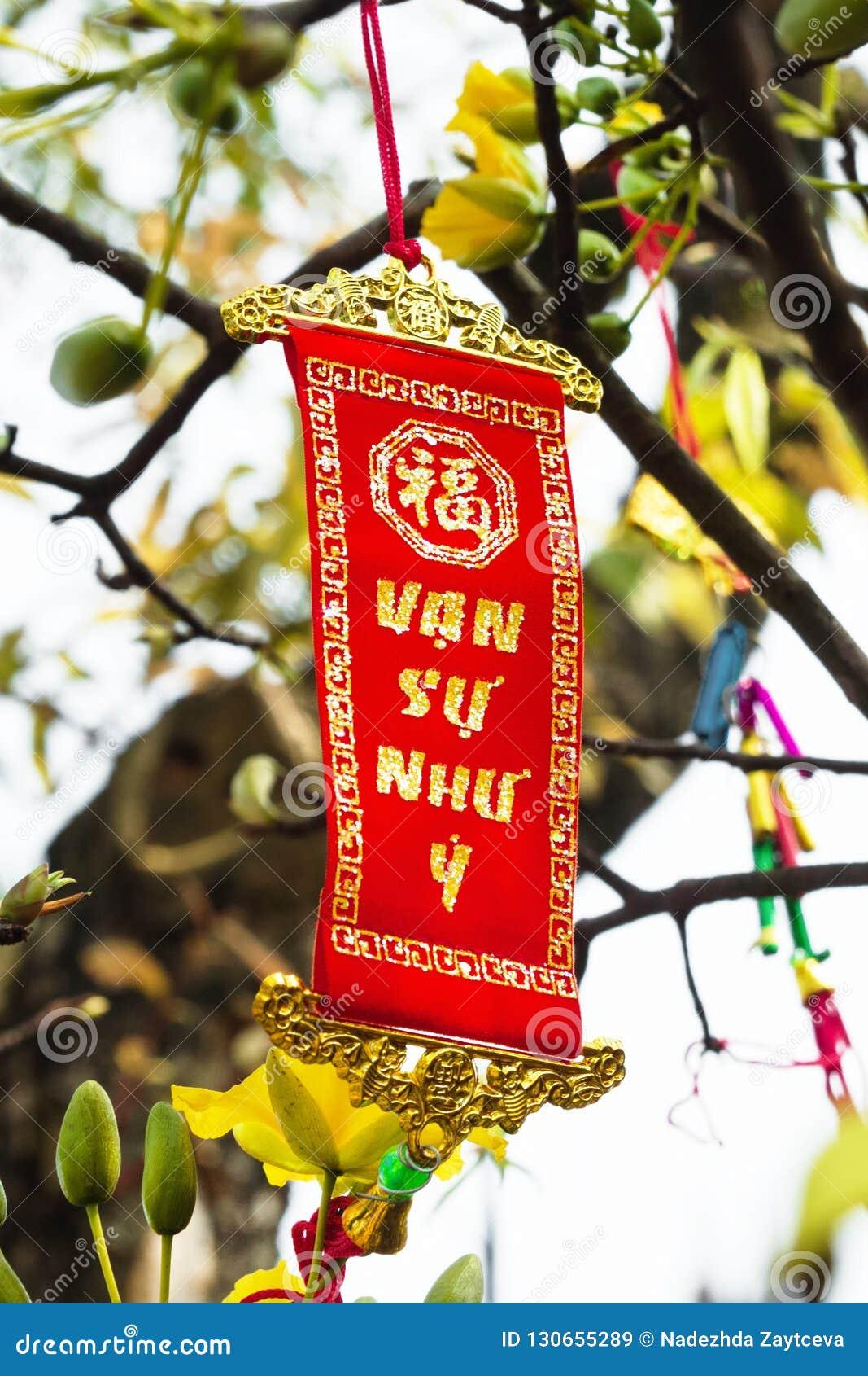 Въетнамское и китайское украшение Нового Года на предпосылке желтых цветков Переведена надпись - большее сознавание
