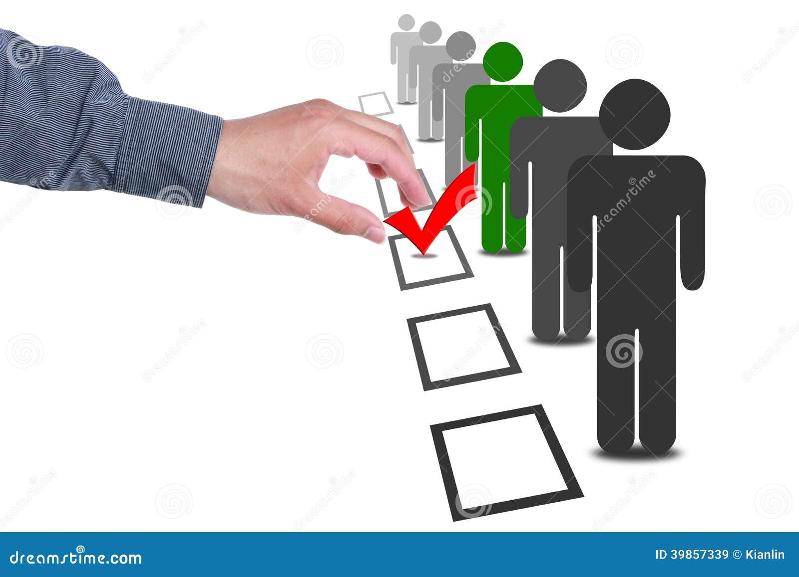 Выберите людей в коробках голосования избрания выбора