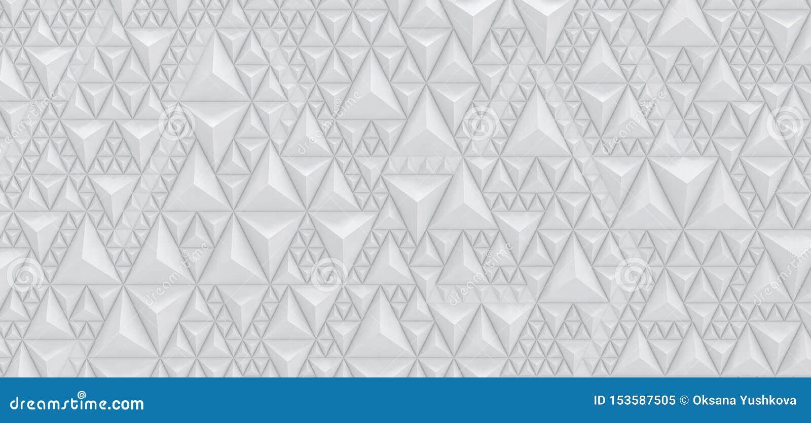 Выбитая белая предпосылка треугольников - иллюстрация 3D