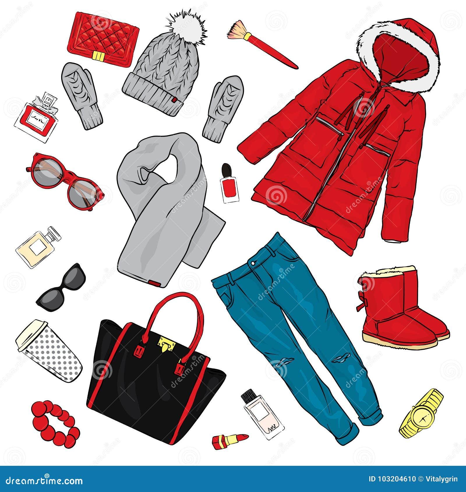 Выбор одежды ` s женщин зимы Куртка, пальто, ботинки, сумка, дух, косметики и другие аксессуары стикеры комплекта архива ai имеющ