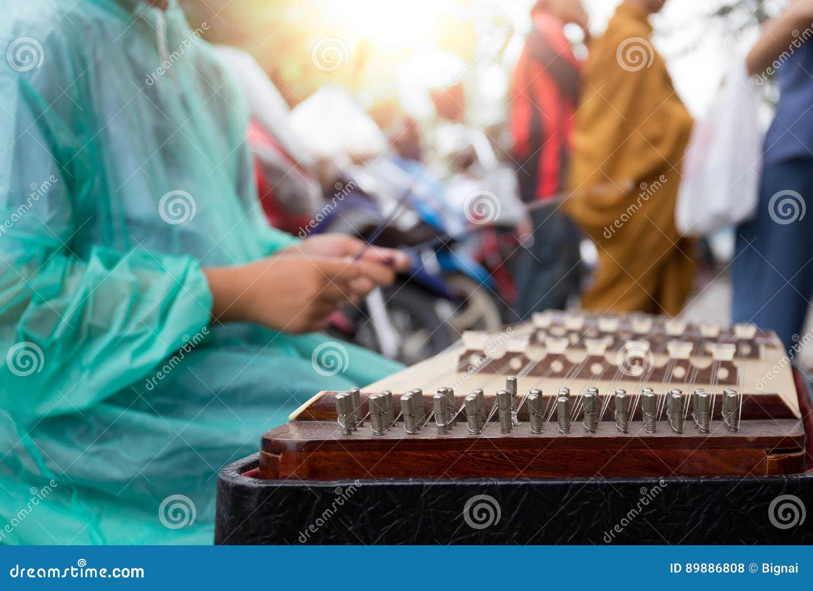 Выбранная женщина фокуса азиатская играя тайский деревянный мюзикл dulcimer