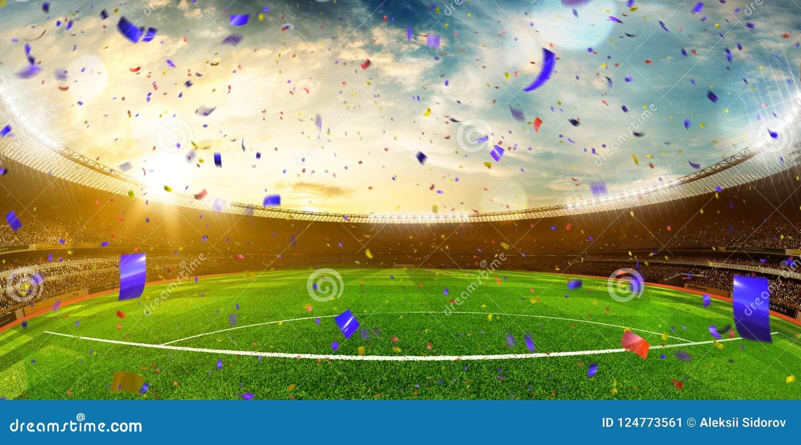 Выигрыш чемпионата футбольного поля арены стадиона вечера Желтая тонна