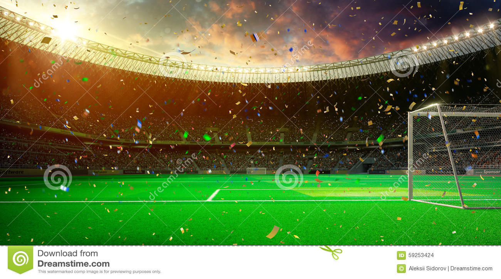 Выигрыш чемпионата футбольного поля арены стадиона вечера!