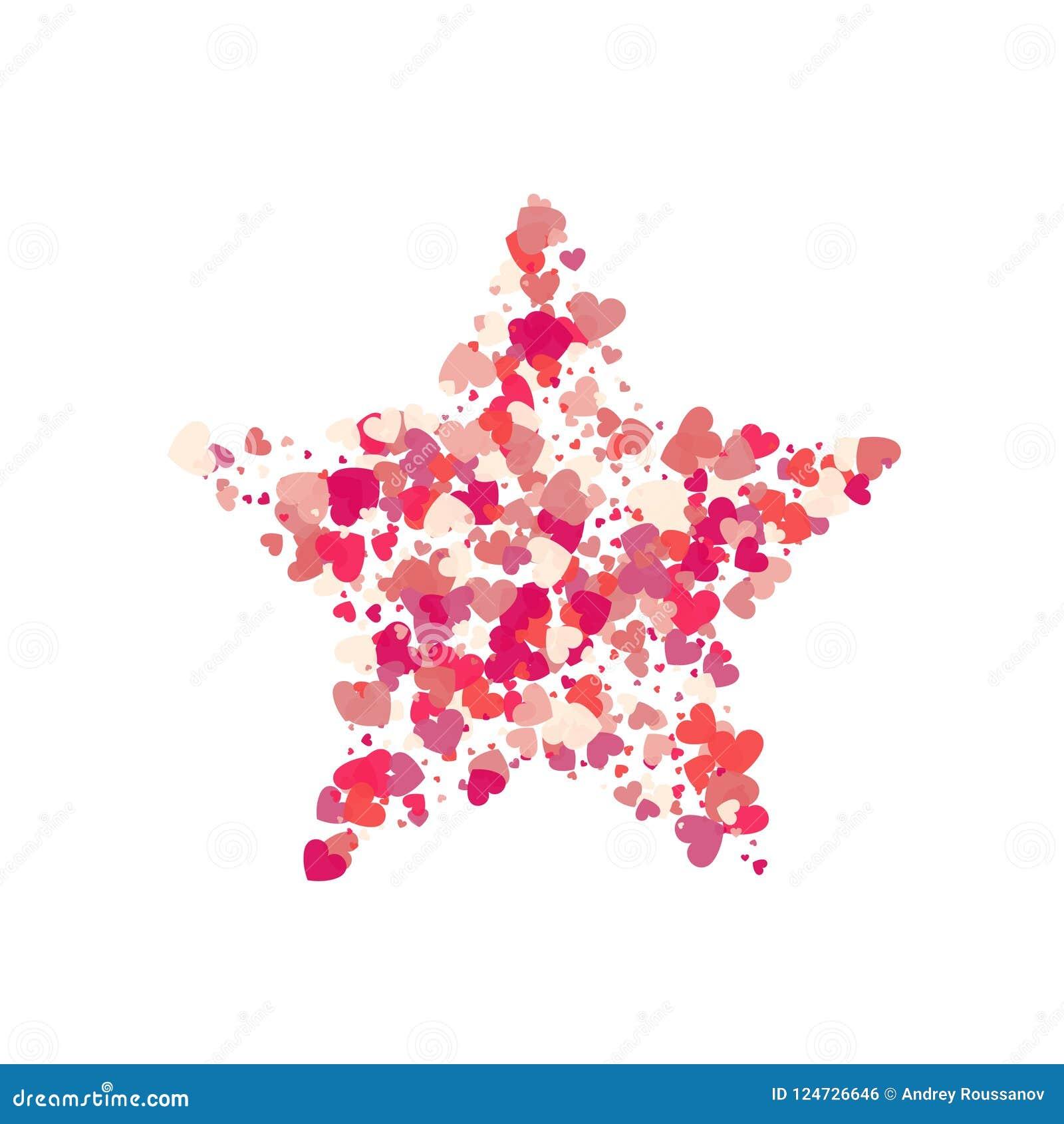 Выплеск confetti пинка вектора формы сердца с красной звездой внутрь