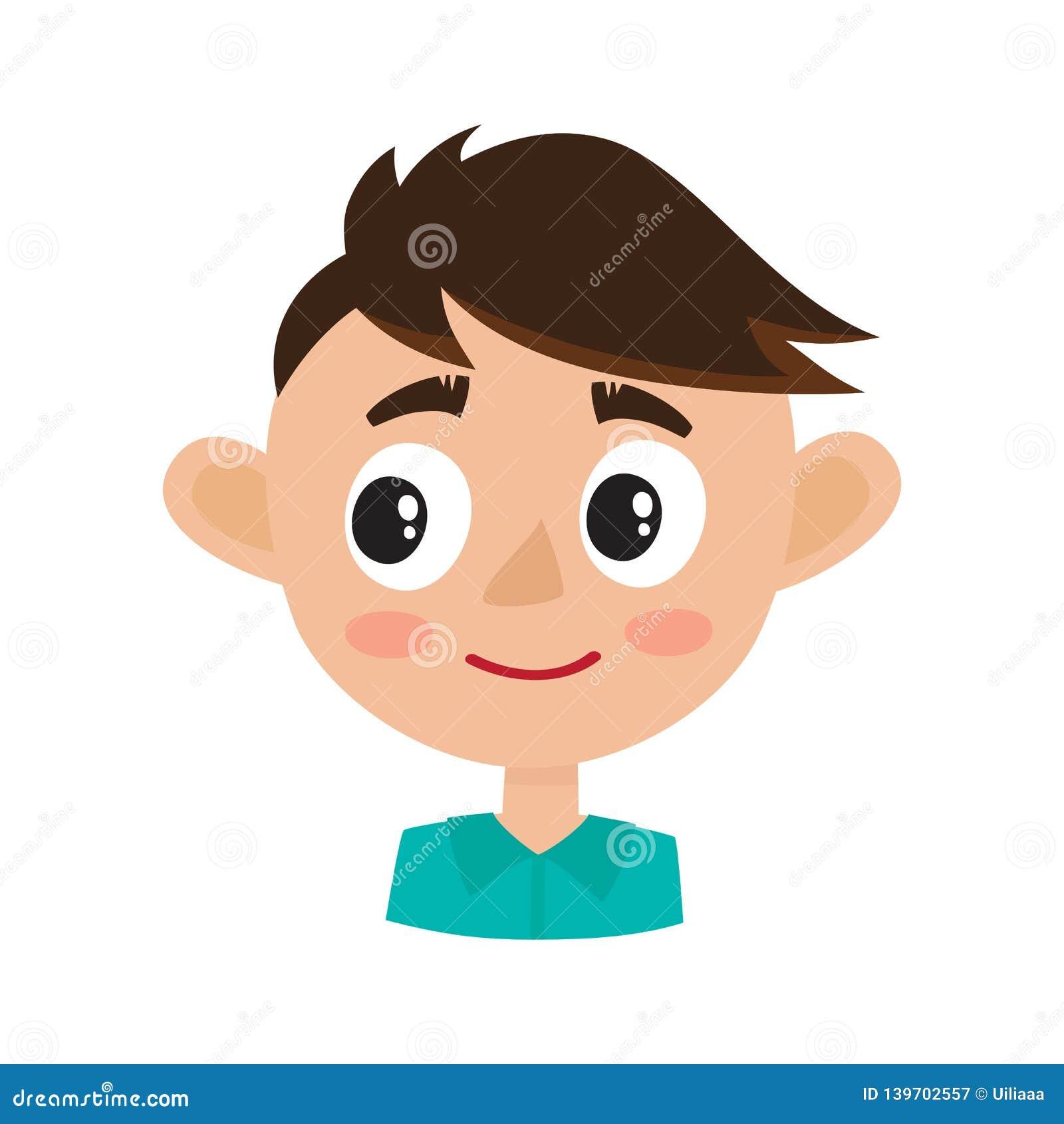 Выражение стороны мальчика счастливое, иллюстрации вектора мультфильма изолированные на белизне