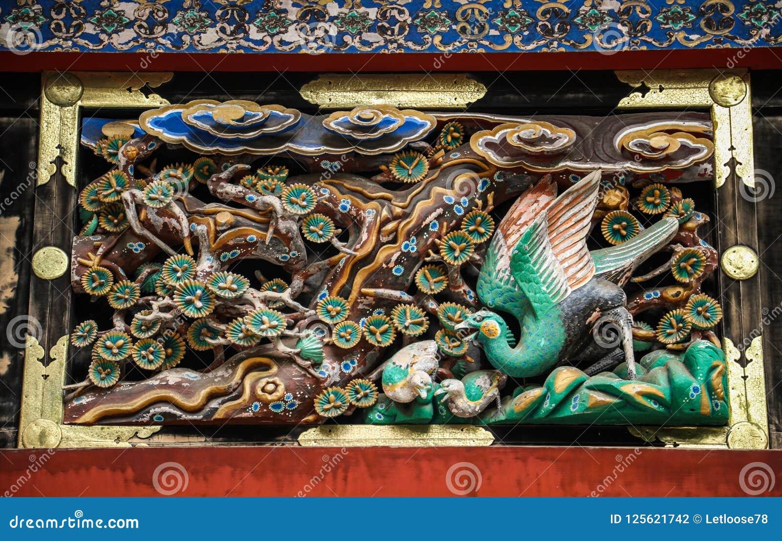 Высекать павлина деревянный, святыня Toshogu, префектура tochigi, Япония