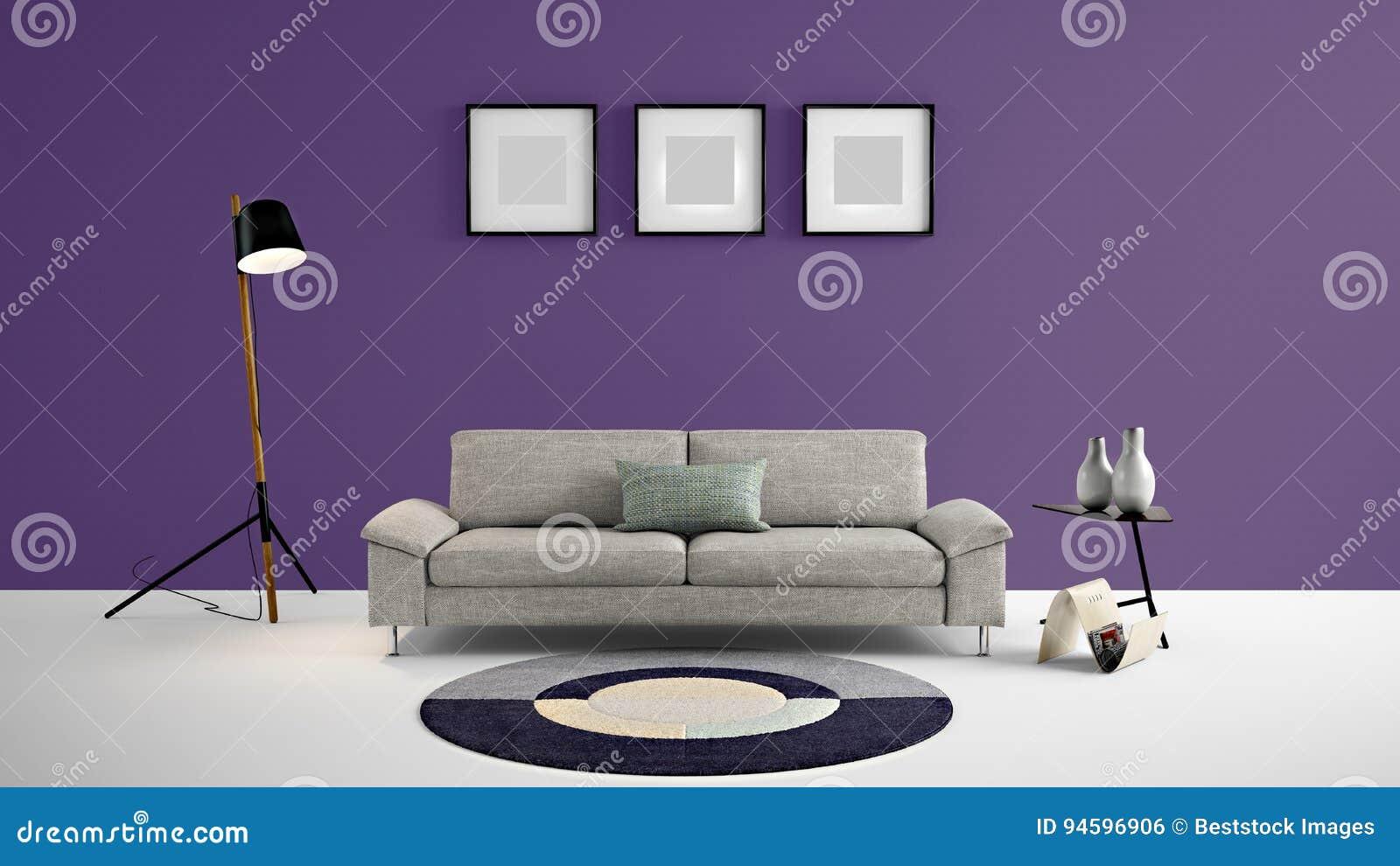 Высокая иллюстрация жилой площади 3d разрешения с темными фиолетовыми стеной цвета и мебелью дизайнера