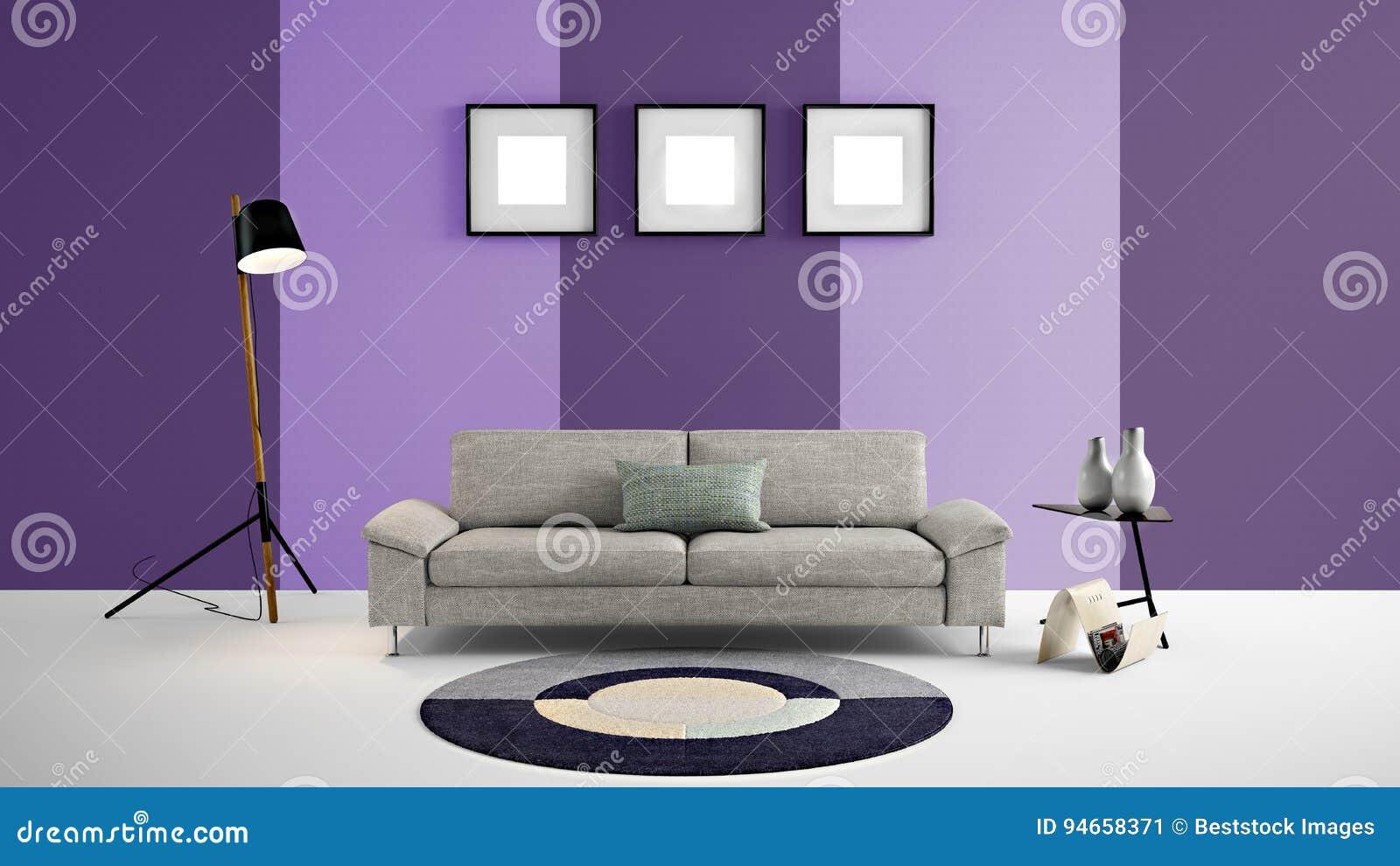 Высокая иллюстрация разрешения 3d с предпосылкой света - фиолетовыми и темными фиолетовыми мебелью стены цвета и