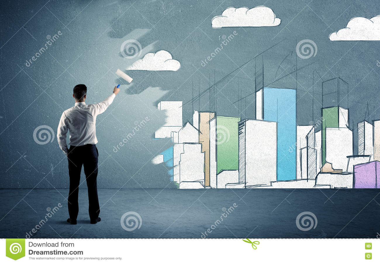 Download Высокие здания картины продавца на городской стене Стоковое Фото - изображение насчитывающей конструкция, украшать: 72281504