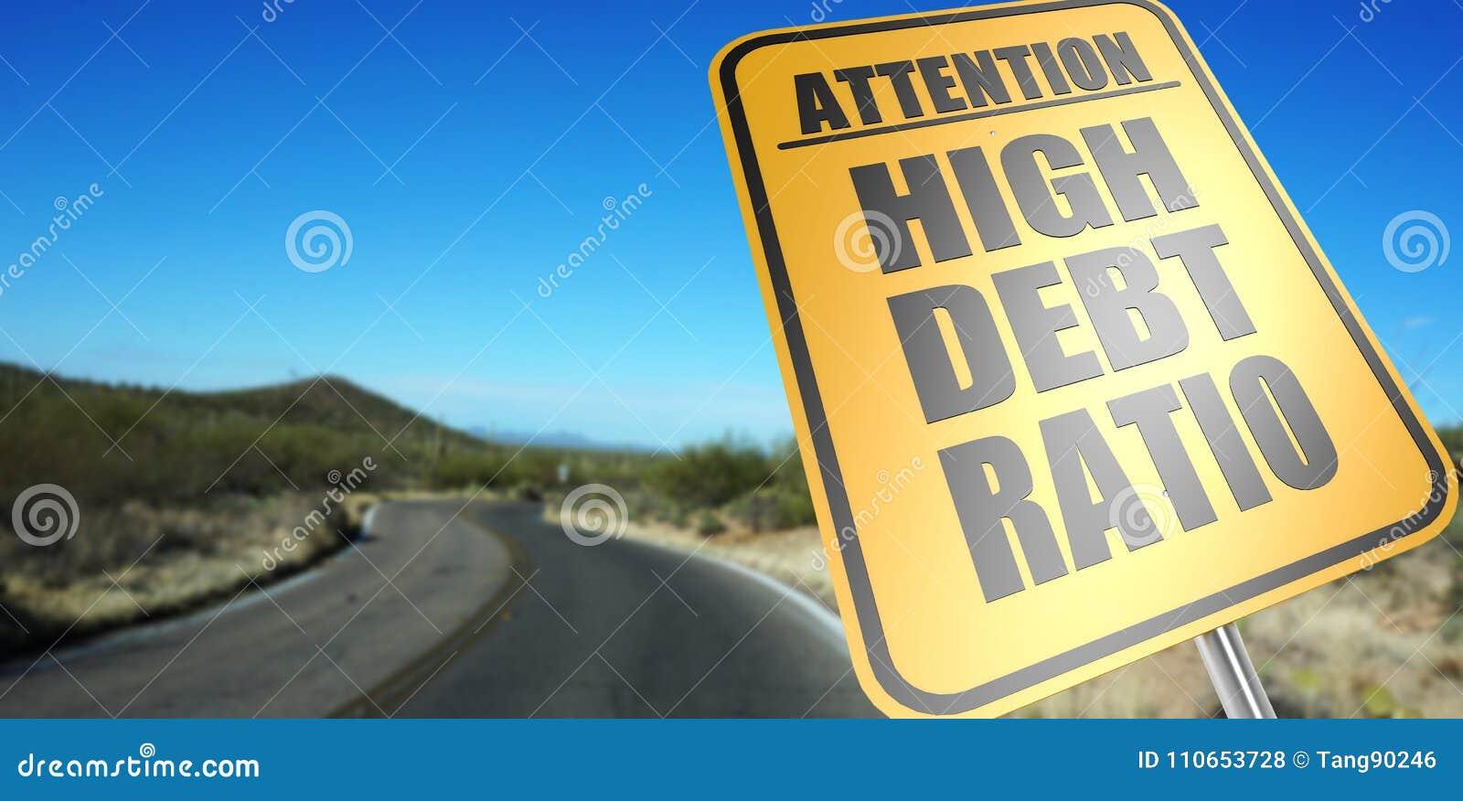 Высокий дорожный знак коэффициента задолженности