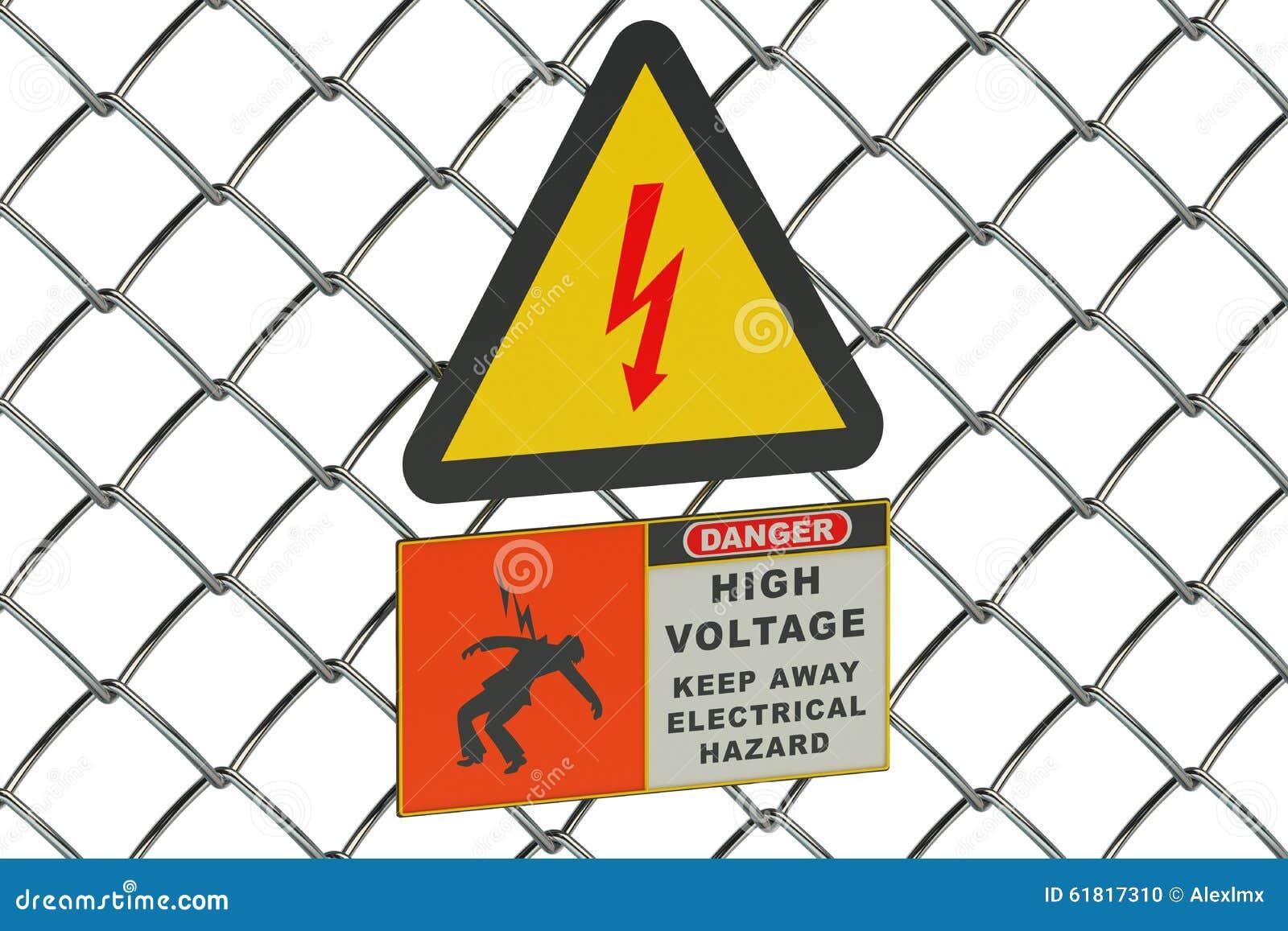 Высоковольтный знак на сетке предохранителя металлической