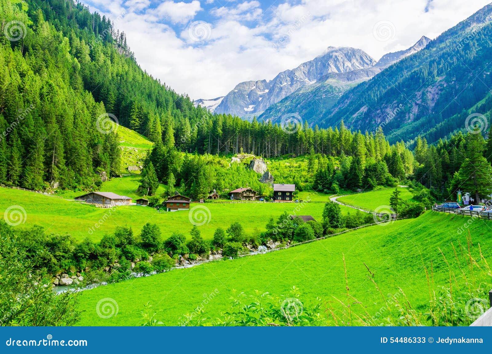 Высокогорный ландшафт с зелеными лугами, Альпы, Австрия