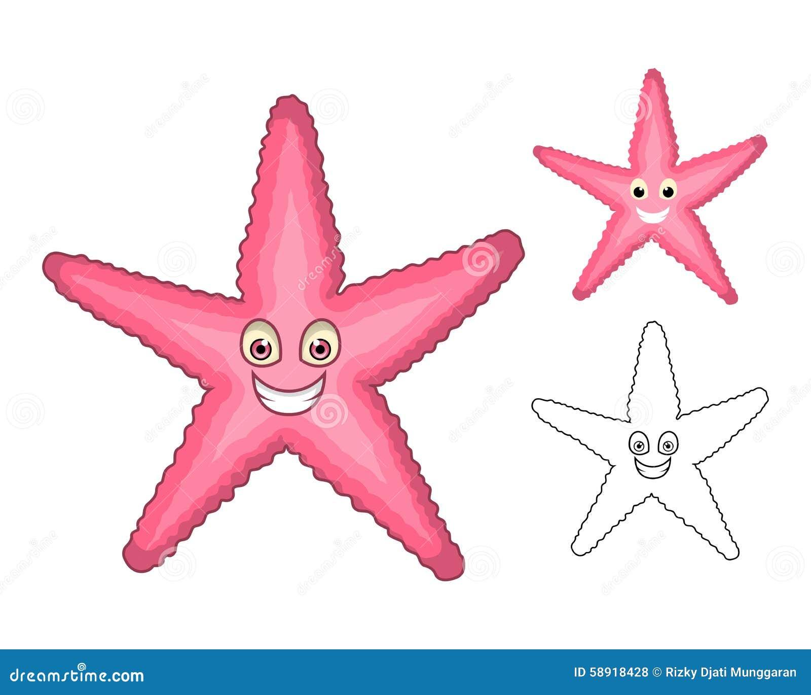 Высококачественный персонаж из мультфильма морских звёзд включает плоские дизайн и линию версию искусства