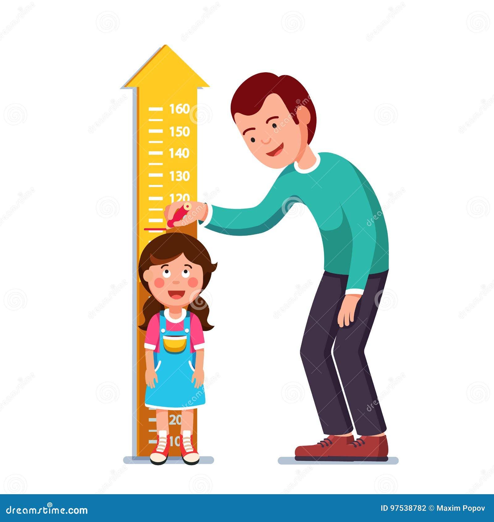 Высота ребенк девушки учителя или отца измеряя