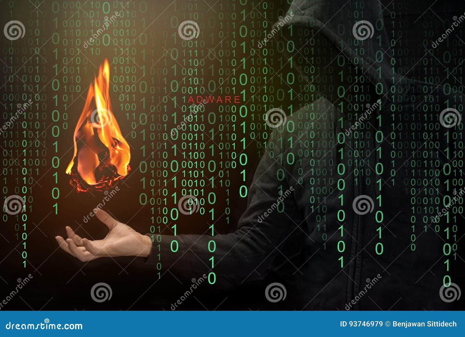Выставка хакера файрбол в наличии, концепция Adware файрбола