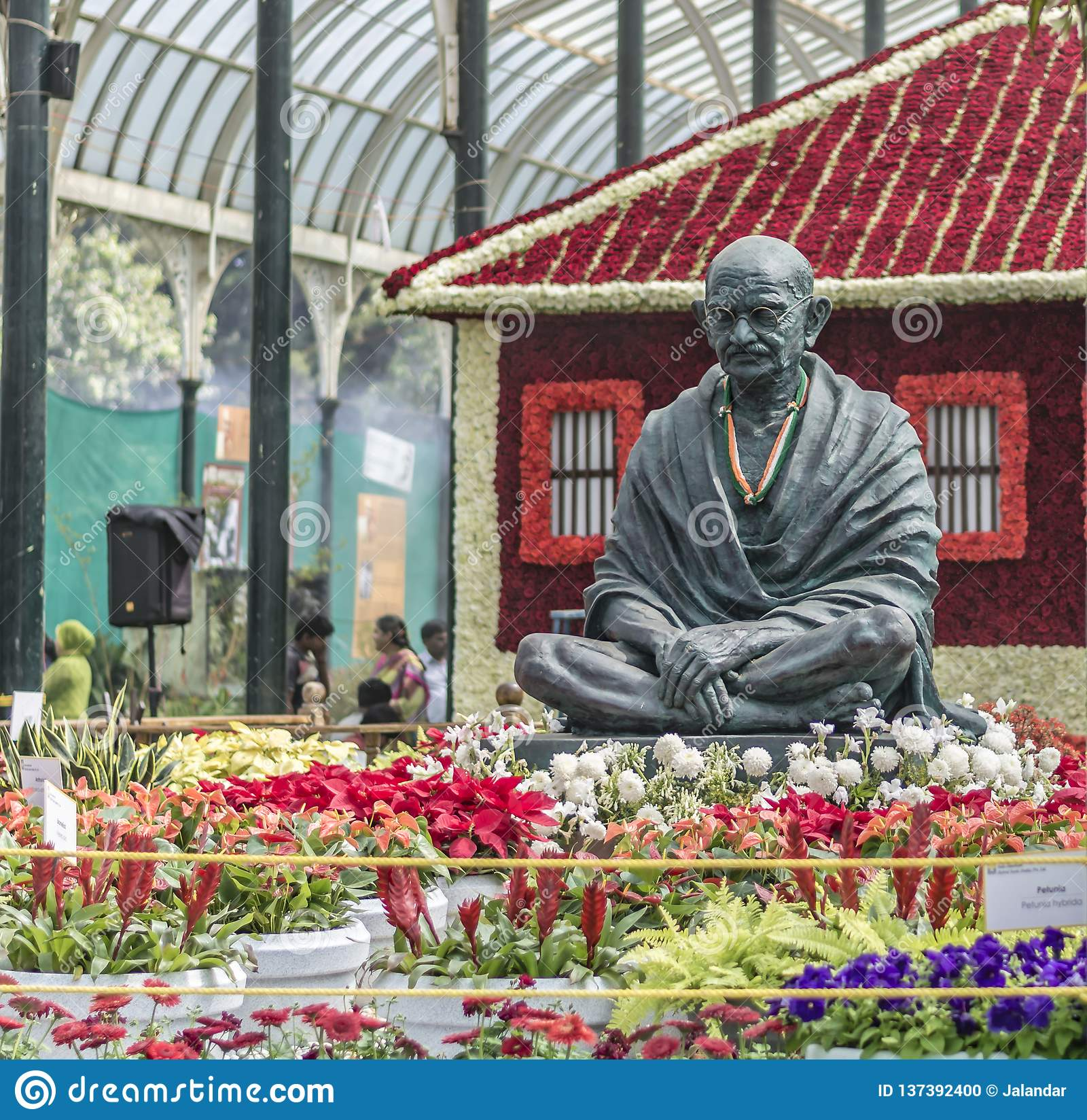 Выставка цветов январь 2019 Lalbagh - статуя Ганди и Ашрам Sabarmathi