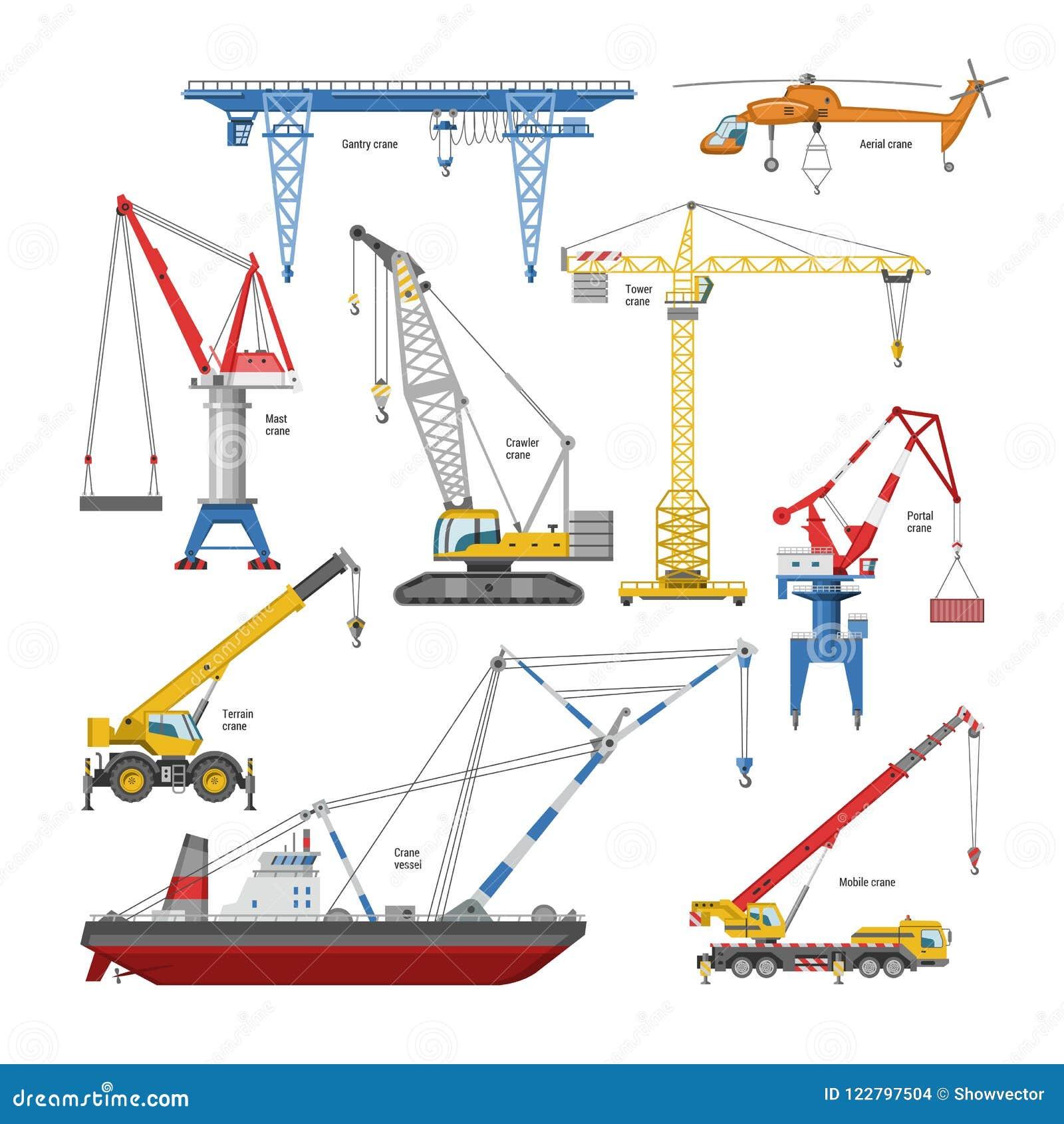 Вытягивайте шею оборудование башн-крана вектора и промышленного здания или комплект иллюстрации constructiontechnics высокого пор
