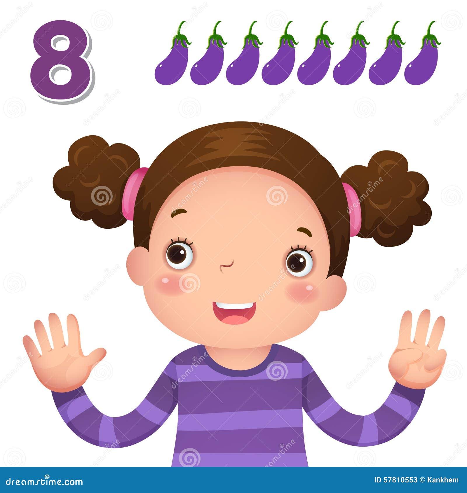 Выучите номер и подсчитывать при рука kid's показывая номер e