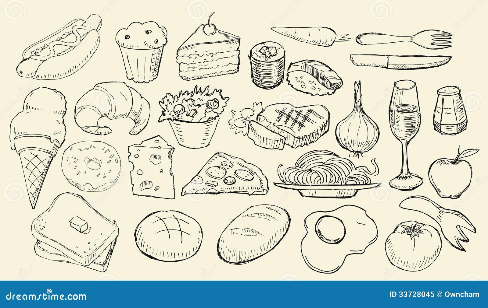 Вычерченное собрание еды