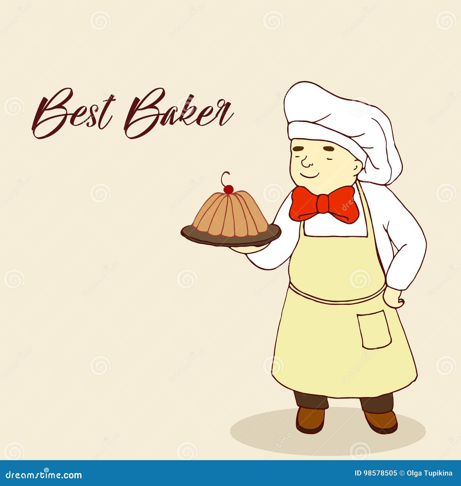 Вычисляйте хлебопека, печь на подносе, шуточный стиль, пухлый кондитер