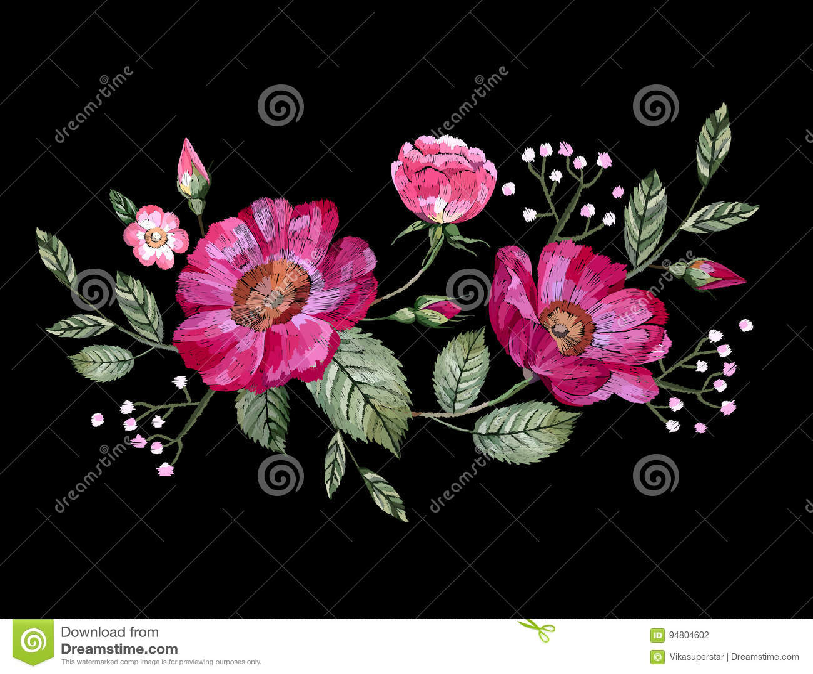 Вышивка вектора с цветками