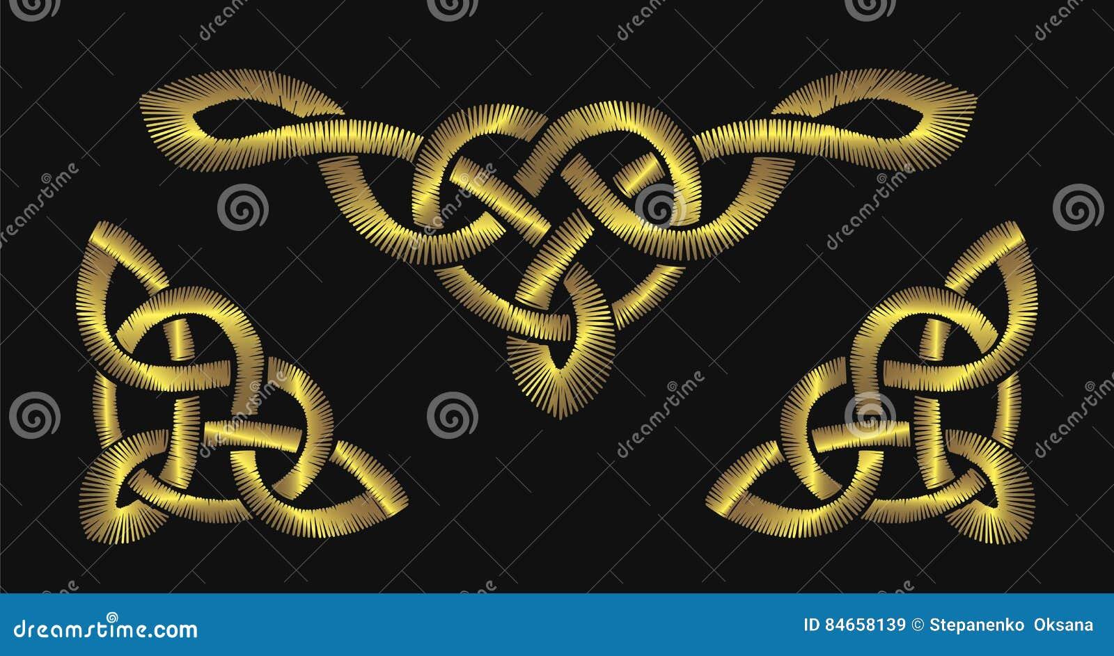 Вышивка золота на черной предпосылке Кельтские картины