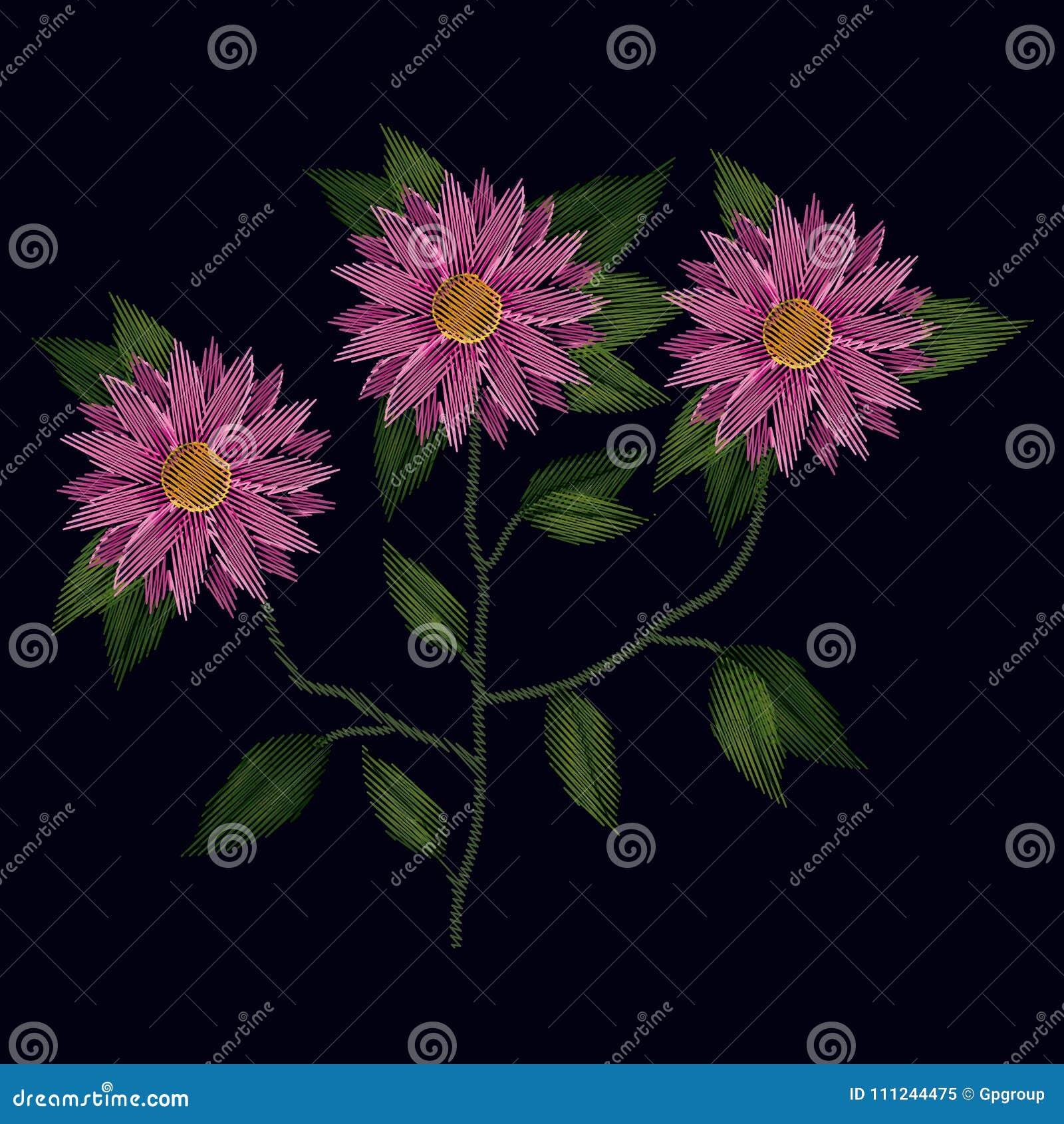 Вышивка красочного завода цветков хризантемы установленная в черной предпосылке
