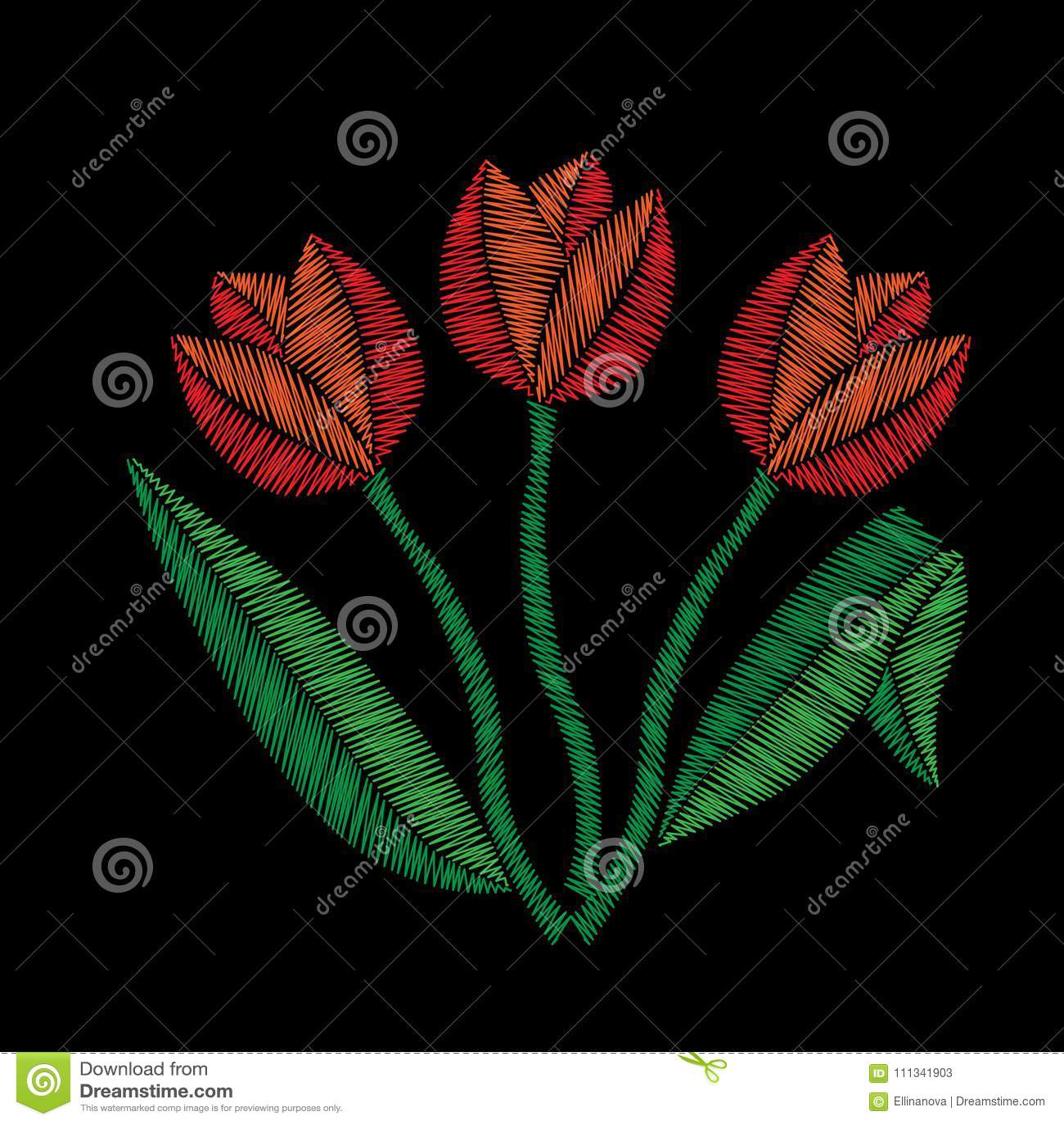 Вышивка тюльпана шьет имитацию